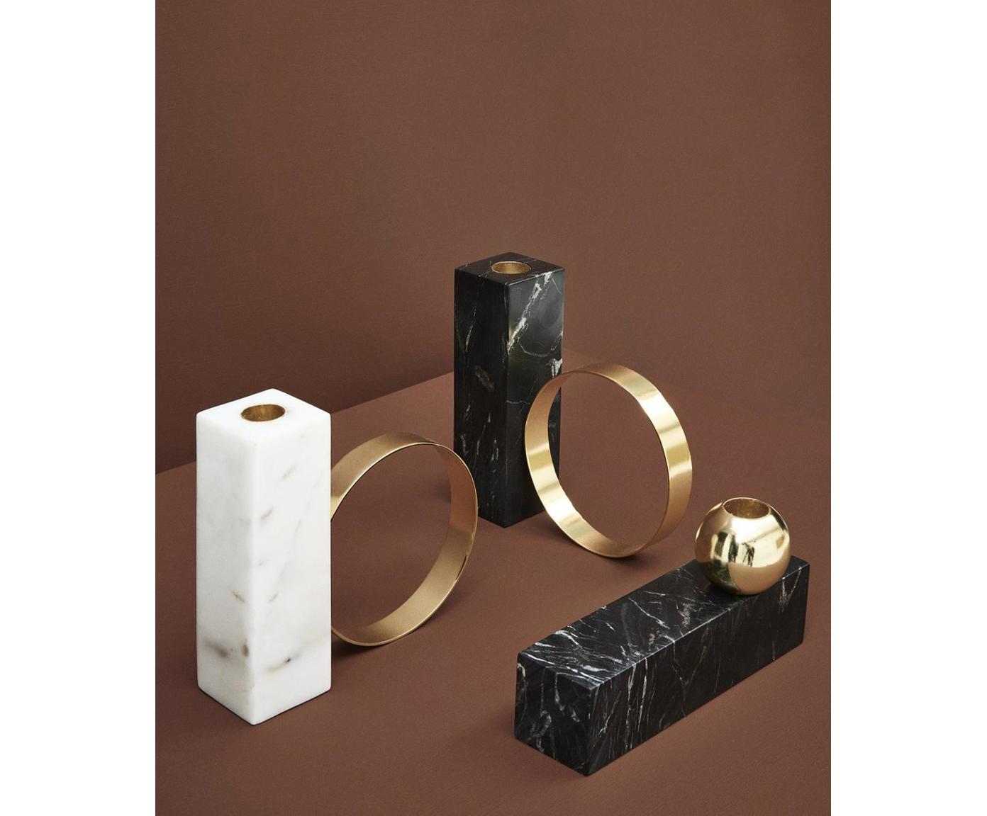 Marmeren kandelaar Tangent, Marmer, metaal, vermessingd, Gemarmerd zwart, messingkleurig, 16 x 15 cm