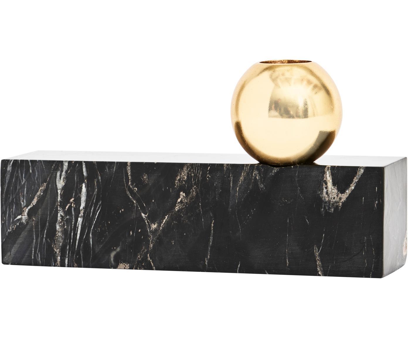 Portacandele in marmo Tangent, Marmo, metallo, ottone, Nero marmorizzato, ottone, Larg. 17 x Alt. 9 cm