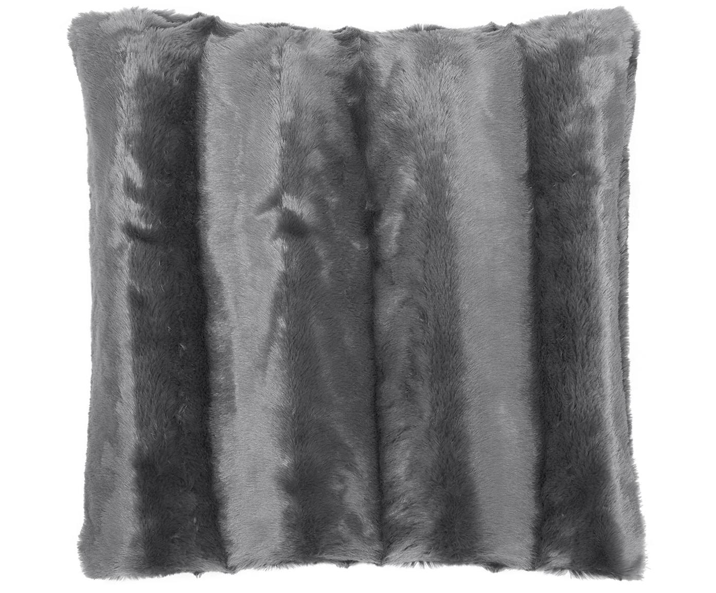 Poszewka na poduszkę ze sztucznego futra na poduszkę Alva, 100% poliester (sztuczne futro), Ciemny szary, S 45 x D 45 cm