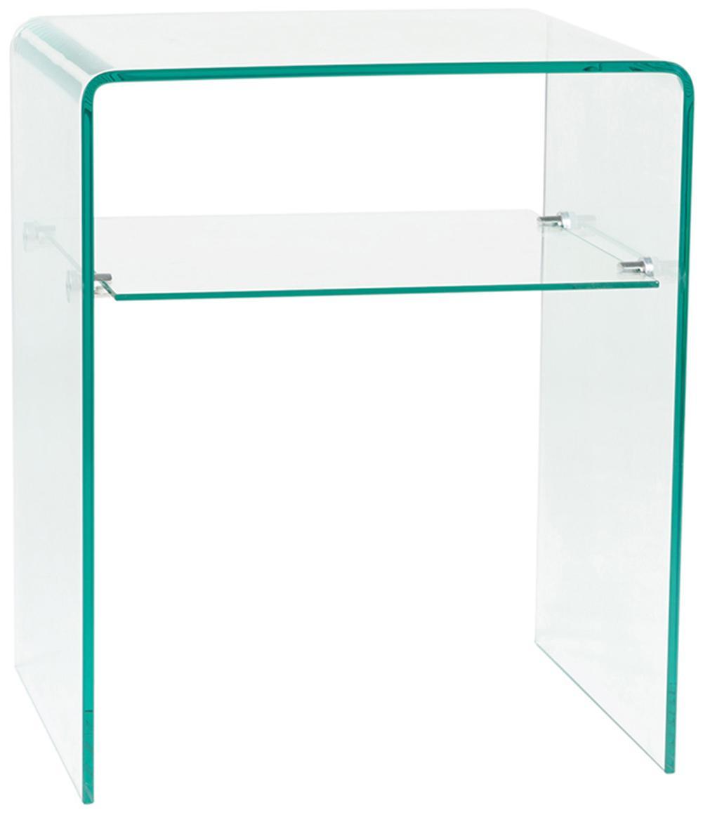 Mesa auxiliar Luxe, Vidrio templado, Transparente, An 50 x Al 40 cm