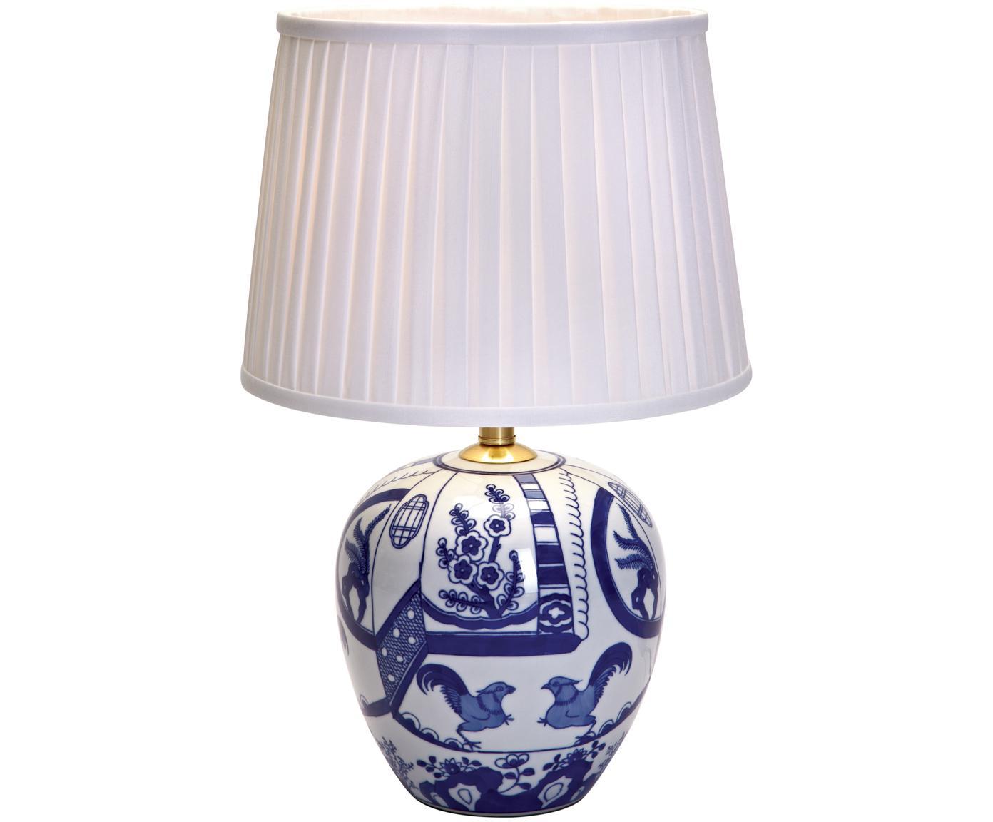 Keramik-Tischleuchte Göteborg, Lampenfuß: Keramik, Lampenschirm: Polyester, Lampenfuß: Blau, Weiß Lampenschirm: Weiß, Ø 31 x H 48 cm