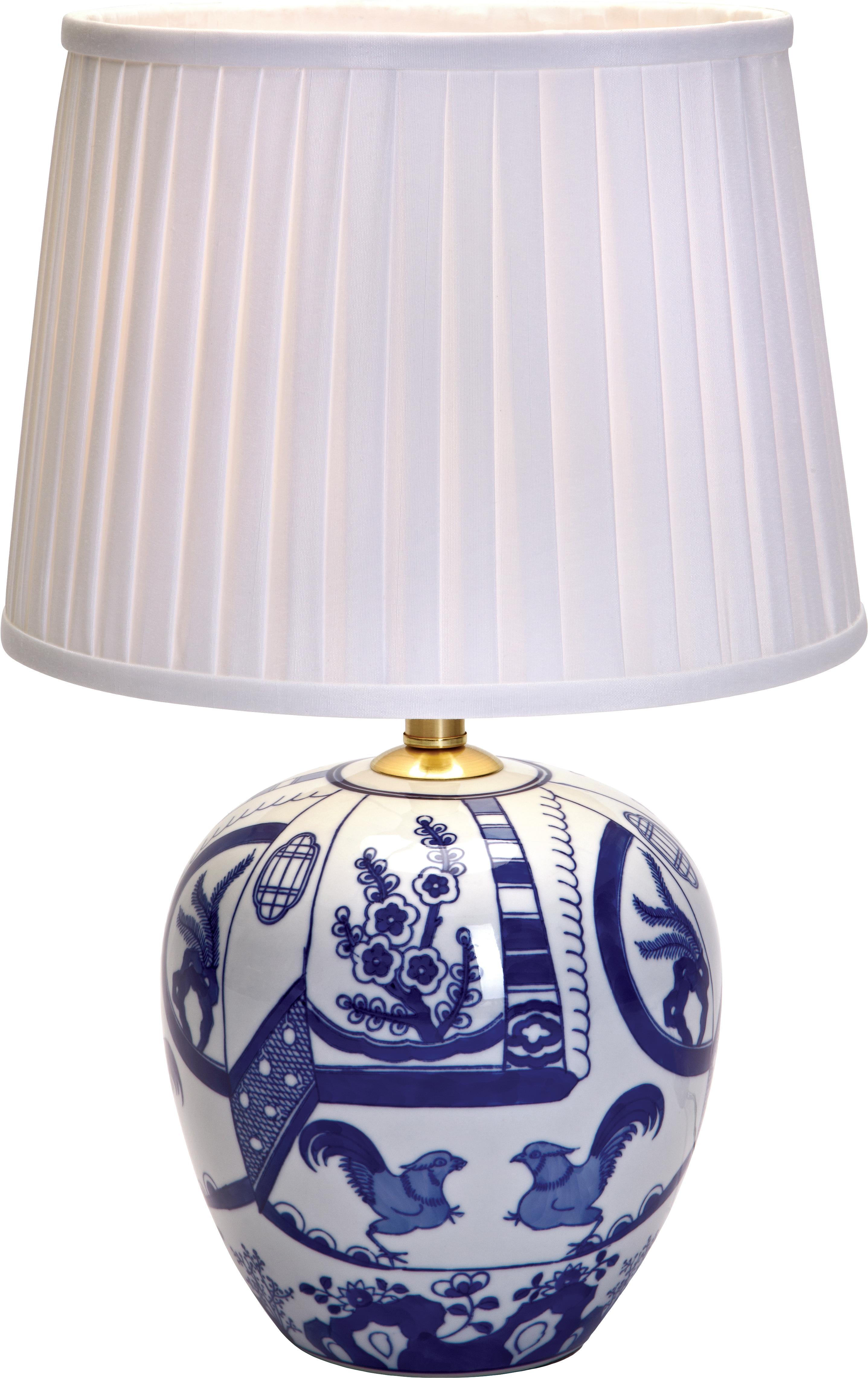 Keramische tafellamp Göteborg, Lampvoet: keramiek, Lampenkap: polyester, Lampvoet: blauw, wit. Lampenkap: wit, Ø 31 x H 48 cm