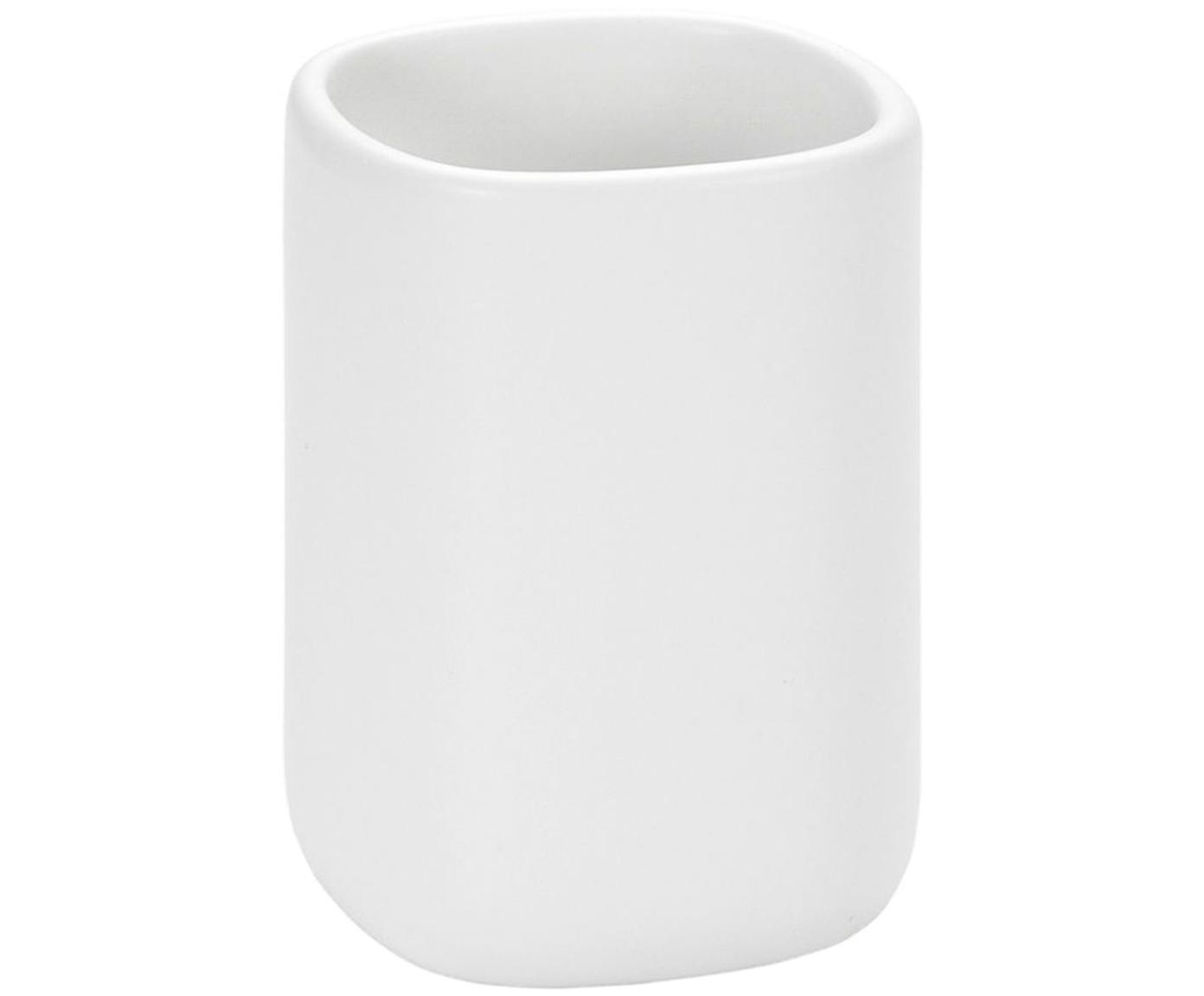 Keramik-Zahnputzbecher Wili, Keramik, Weiß, Ø 7 x H 11 cm