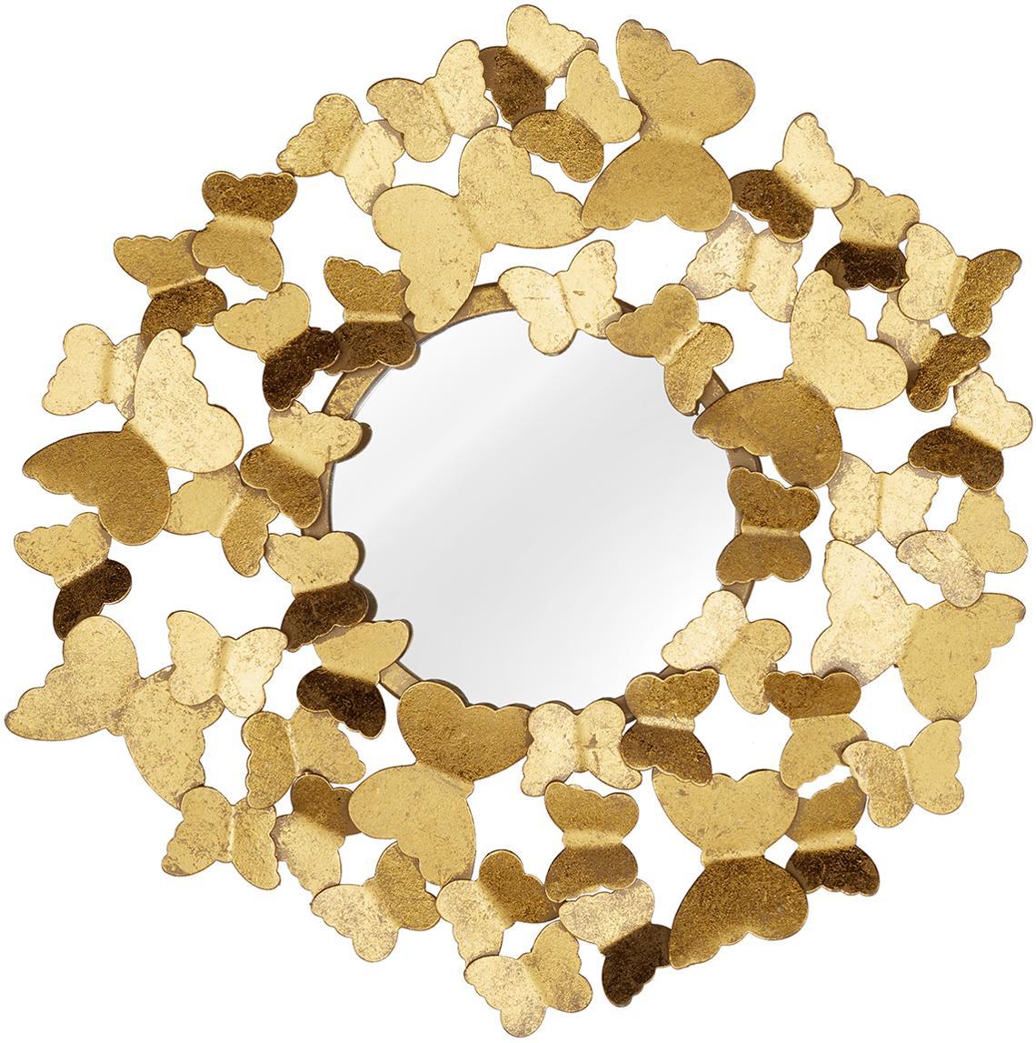 Espejo de pared Butterfly, Parte trasera: fibra de densidad media, Espejo: cristal, Dorado, Ø 40 cm