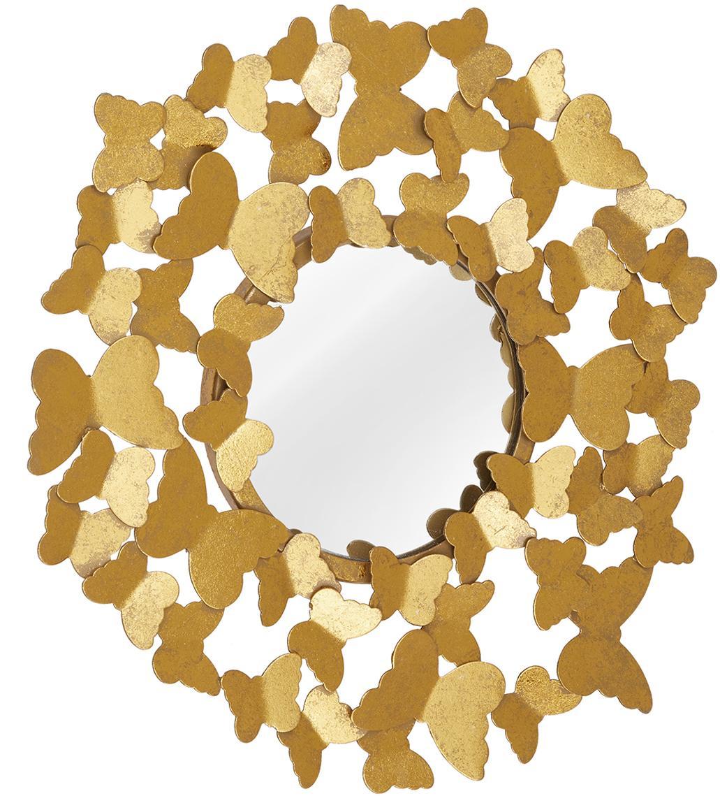 Runder Wandspiegel Butterfly mit Goldrahmen, Rahmen: Metall, Rückseite: Mitteldichte Holzfaserpla, Spiegelfläche: Spiegelglas, Goldfarben, Ø 67 cm