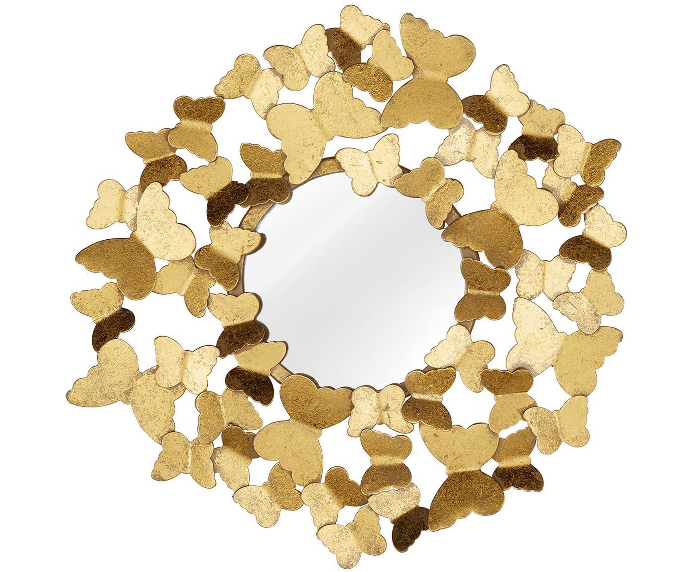 Specchio da parete Butterfly, Cornice: metallo, Superficie dello specchio: lastra di vetro, Dorato, Ø 40 cm