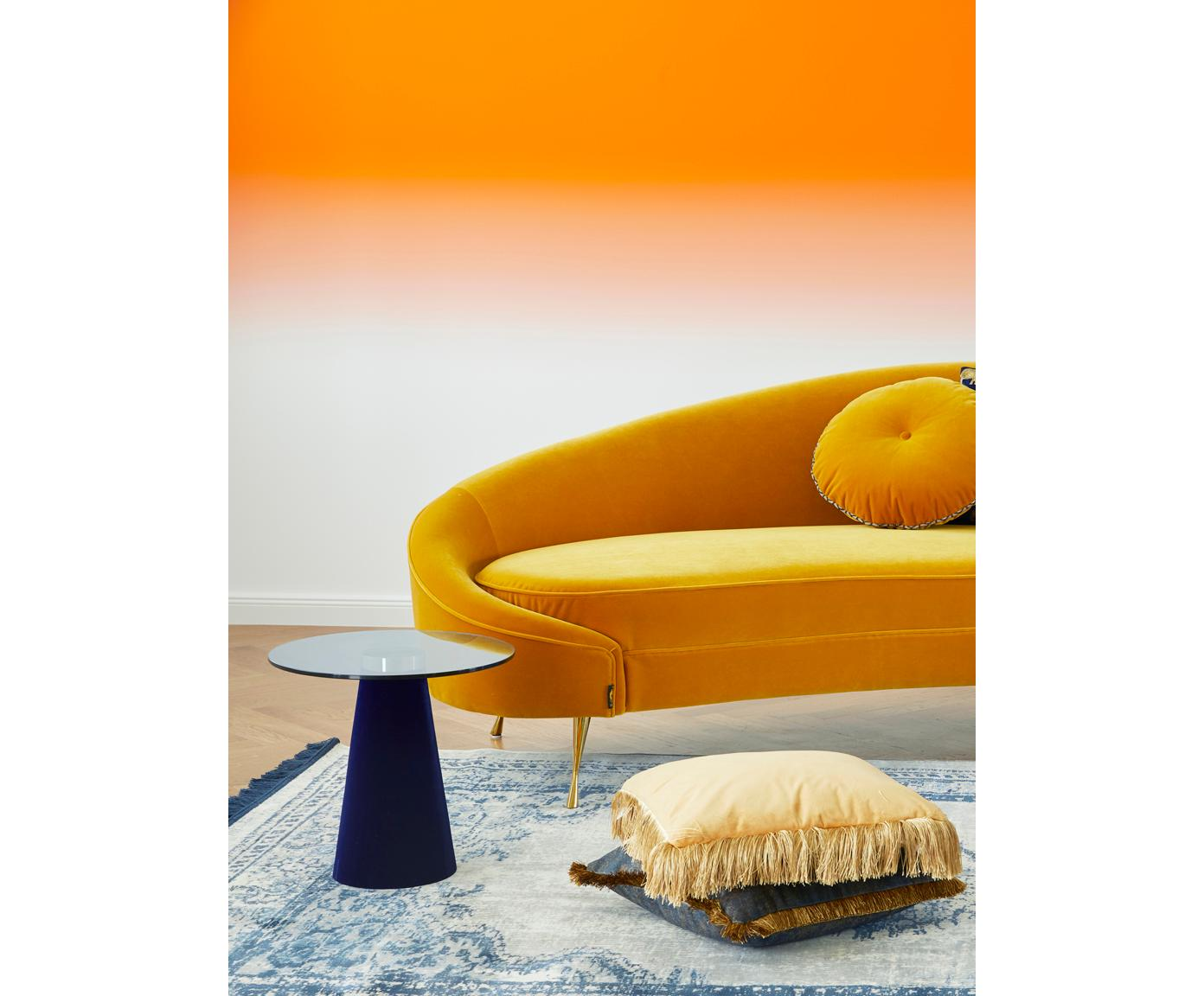 Beistelltisch Leader Of The Fanclub mit Glasplatte, Tischplatte: Hartglas, Fuß: Polyresin, beschichtet, A, Blau, Ø 40 x H 39 cm