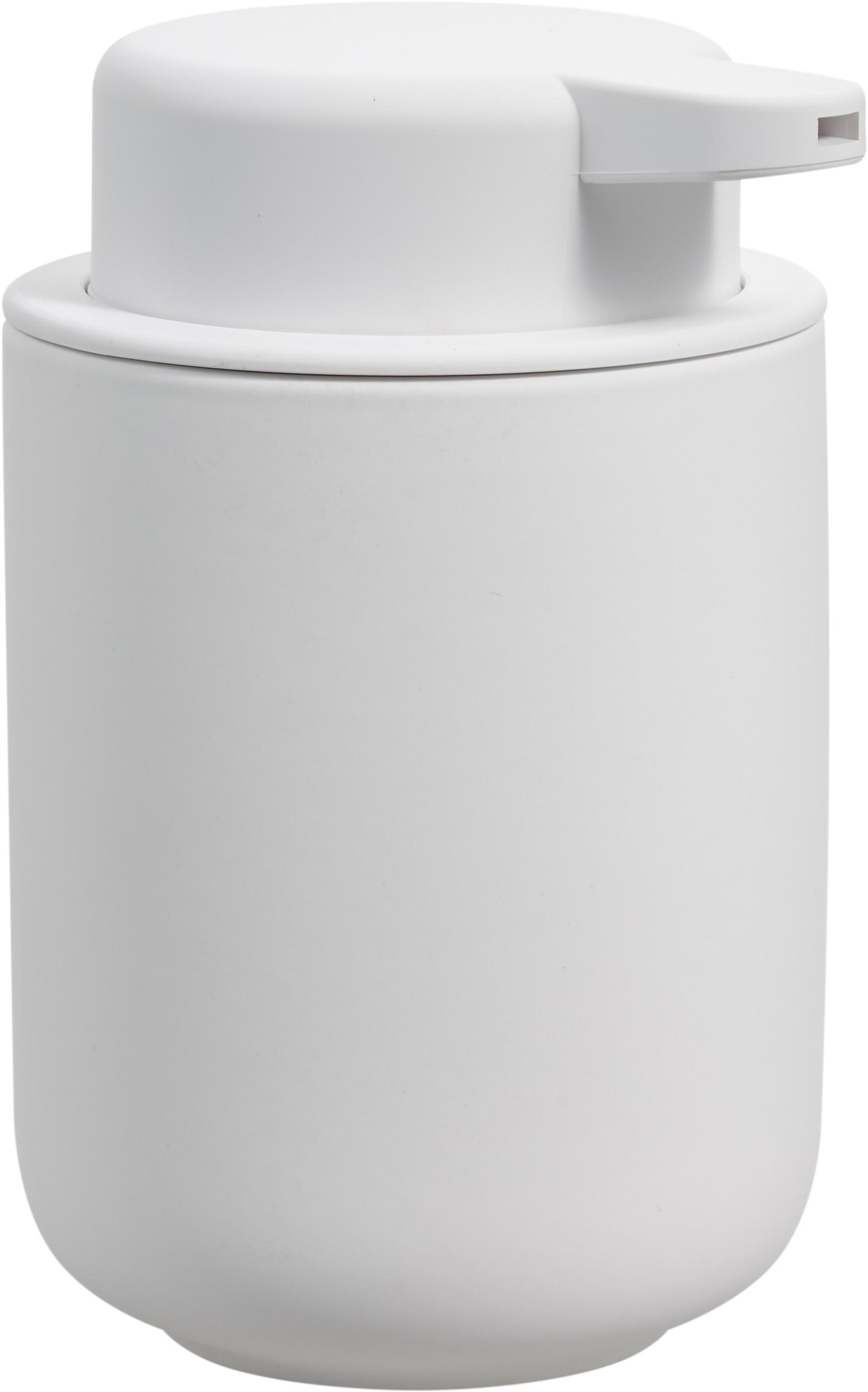 Dozownik do mydła z kamionki Omega, Biały, matowy, Ø 8 x W 13 cm
