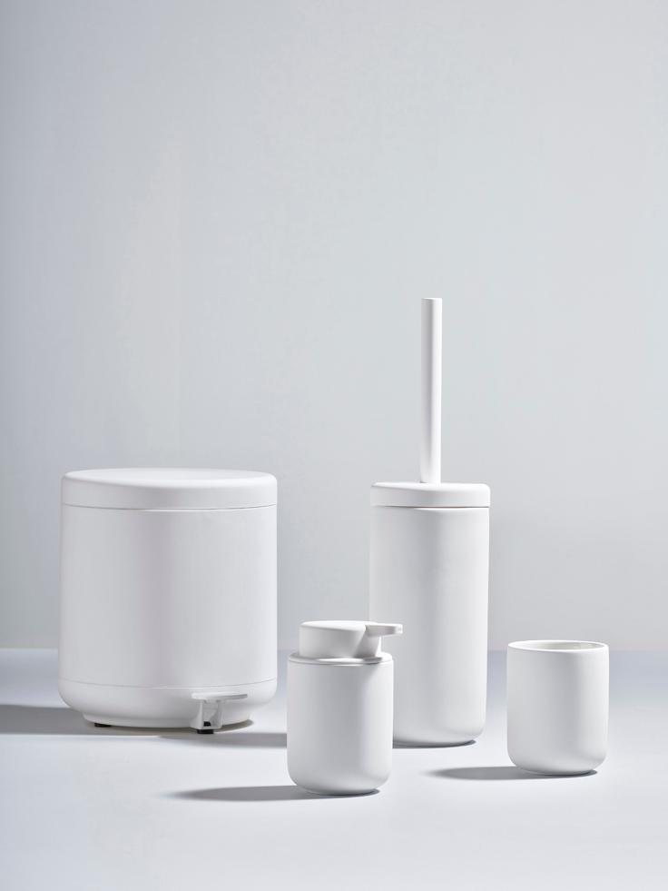 Dosificador de jabón Ume, Recipiente: gres revestido con superf, Dosificador: plástico, Blanco, Ø 8 x Al 13 cm