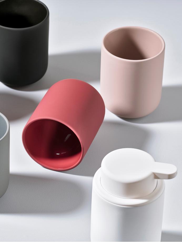 Seifenspender Ume aus Steingut, Behälter: Steingut überzogen mit So, Weiß, matt, Ø 8 x H 13 cm