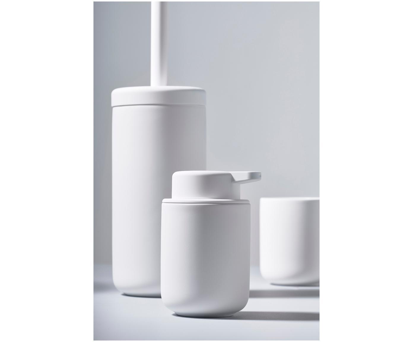 Zeepdispenser Omega, Houder: keramiek overtrokken met , Mat wit, Ø 8 x H 13 cm