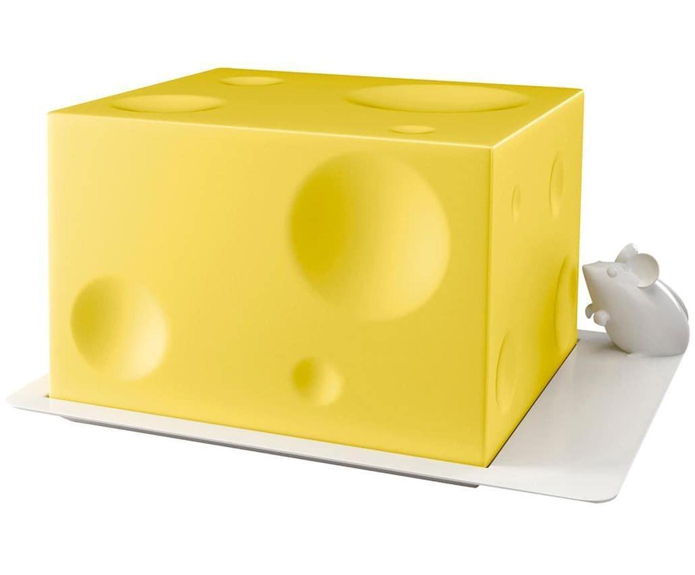 Quesera I Love Cheese, Plástico ABS, Amarillo, blanco, An 19 x Al 14 cm