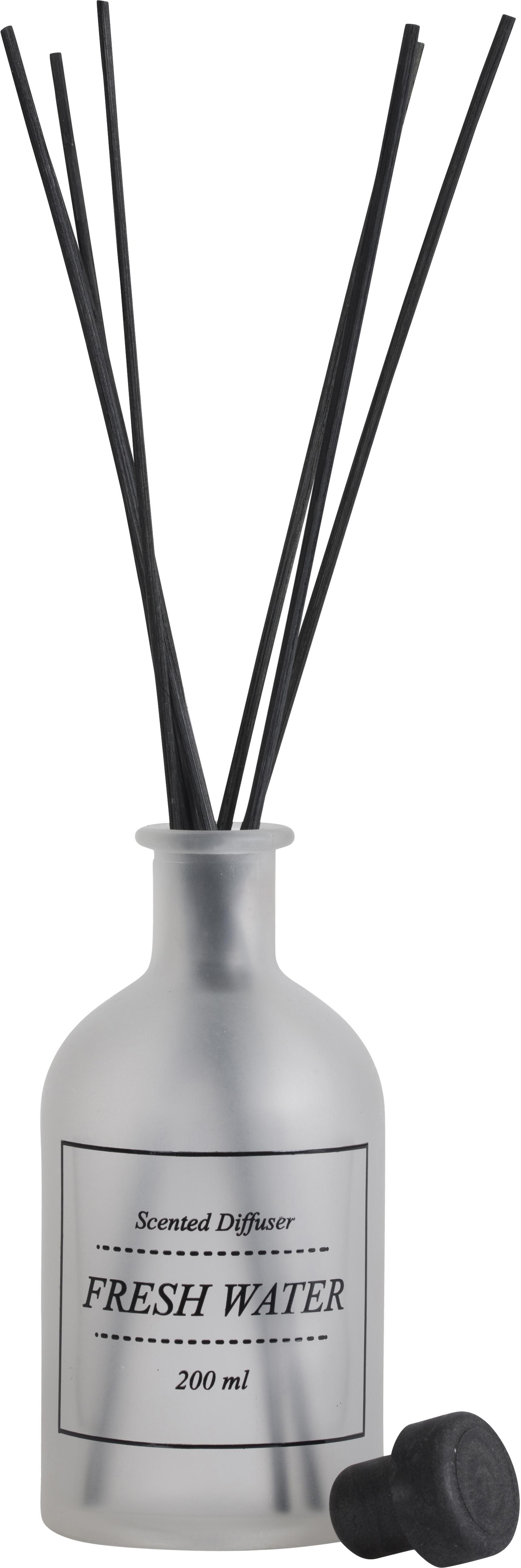 Diffusore Fresh Water (fresca brezza marina), Vetro, bastoncini di rattan, Trasparente, nero, Ø 7 x A 29 cm