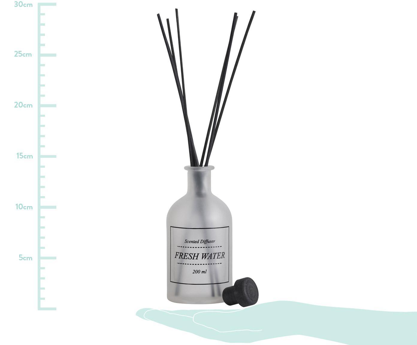 Dyfuzor zapachowy Fresh Water (morska bryza), Szkło, pałeczki rattanowe, Transparentny, czarny, Ø 7 x W 29 cm
