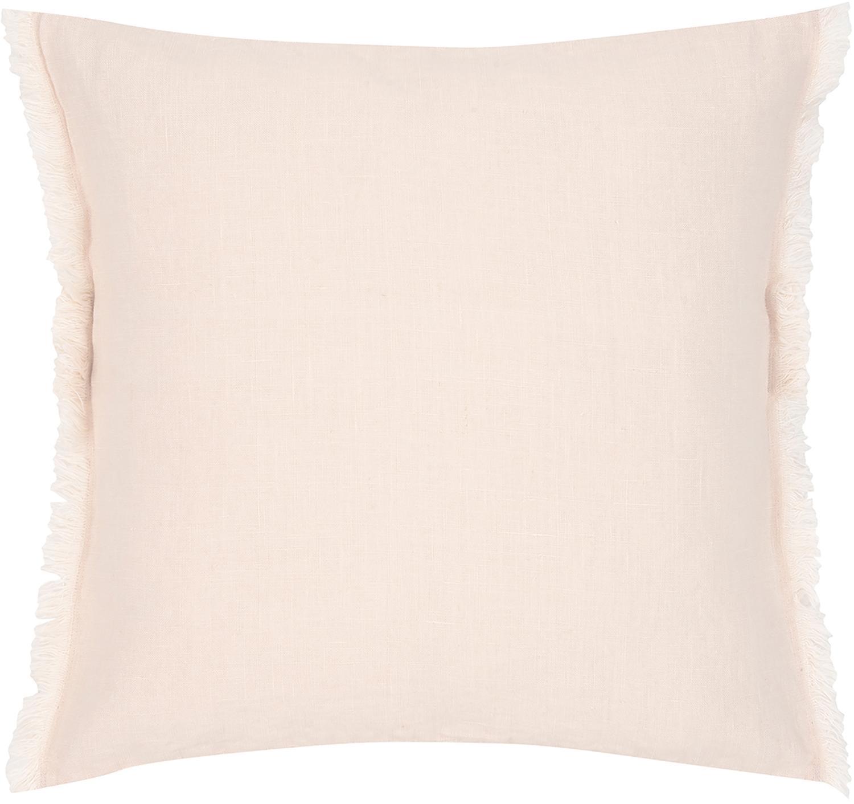 Leinen-Kissenhülle Luana mit Fransen, 100% Leinen, Apricot, 40 x 40 cm