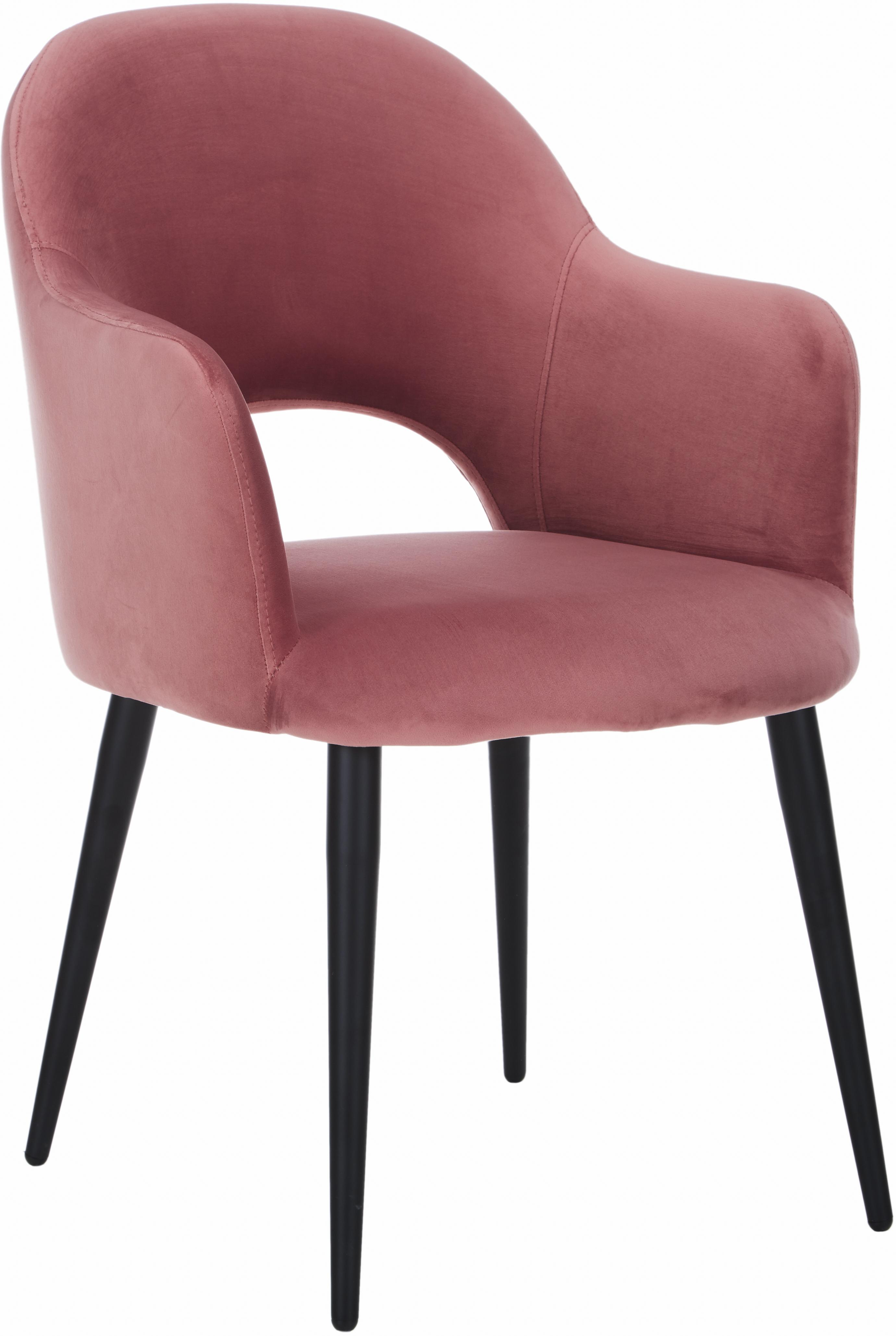 Sedia con braccioli in velluto Rachel, Rivestimento: velluto (poliestere) 50.0, Gambe: metallo verniciato a polv, Rivestimento: rosa arancione Gambe: nero opaco, Larg. 47 x Prof. 64 cm