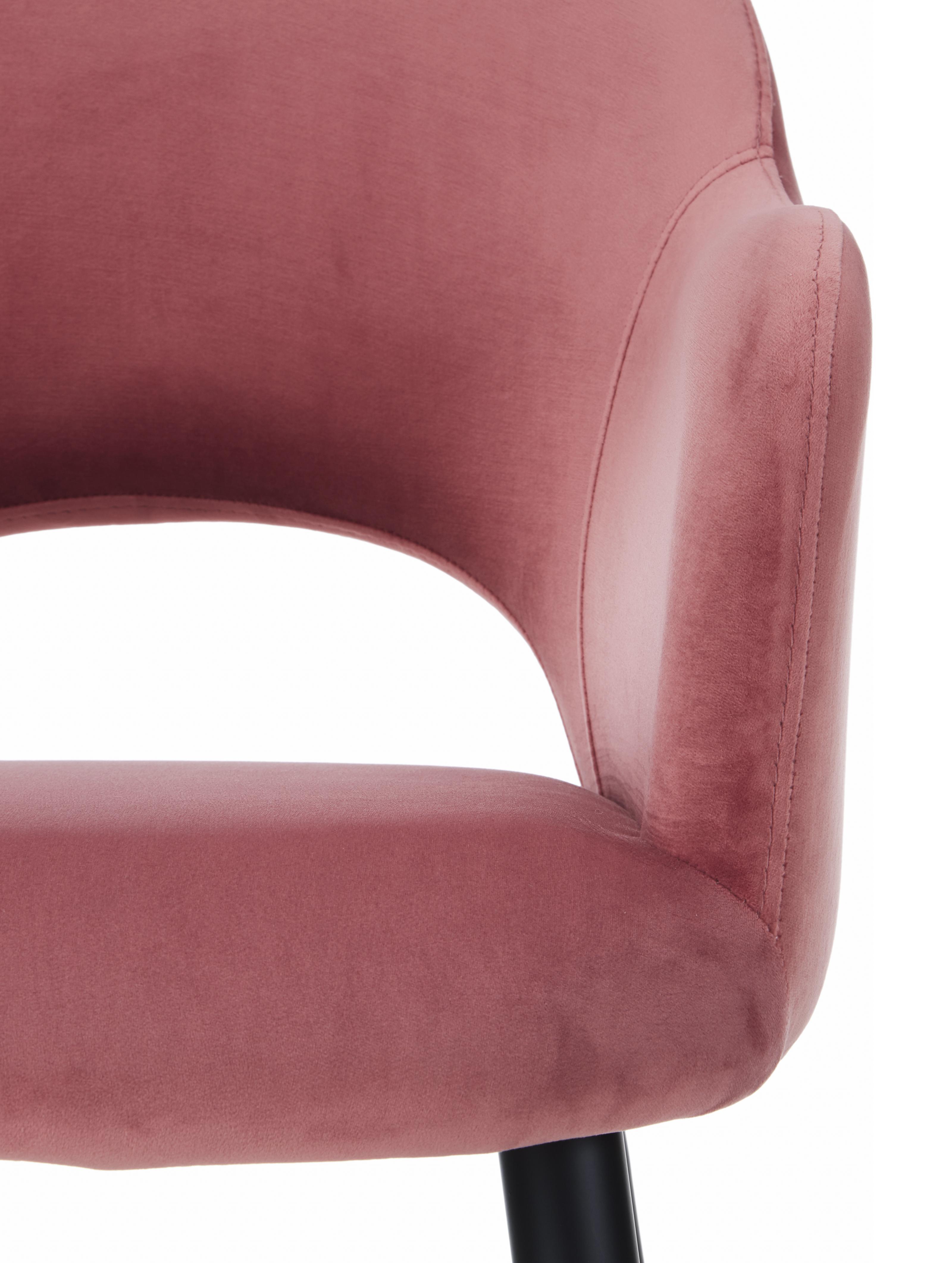 Silla con reposabrazos de terciopelo Rachel, Tapizado: terciopelo (poliéster) 50, Patas: metal con pintura en polv, Terciopelo rosa palo, An 47 x F 64 cm