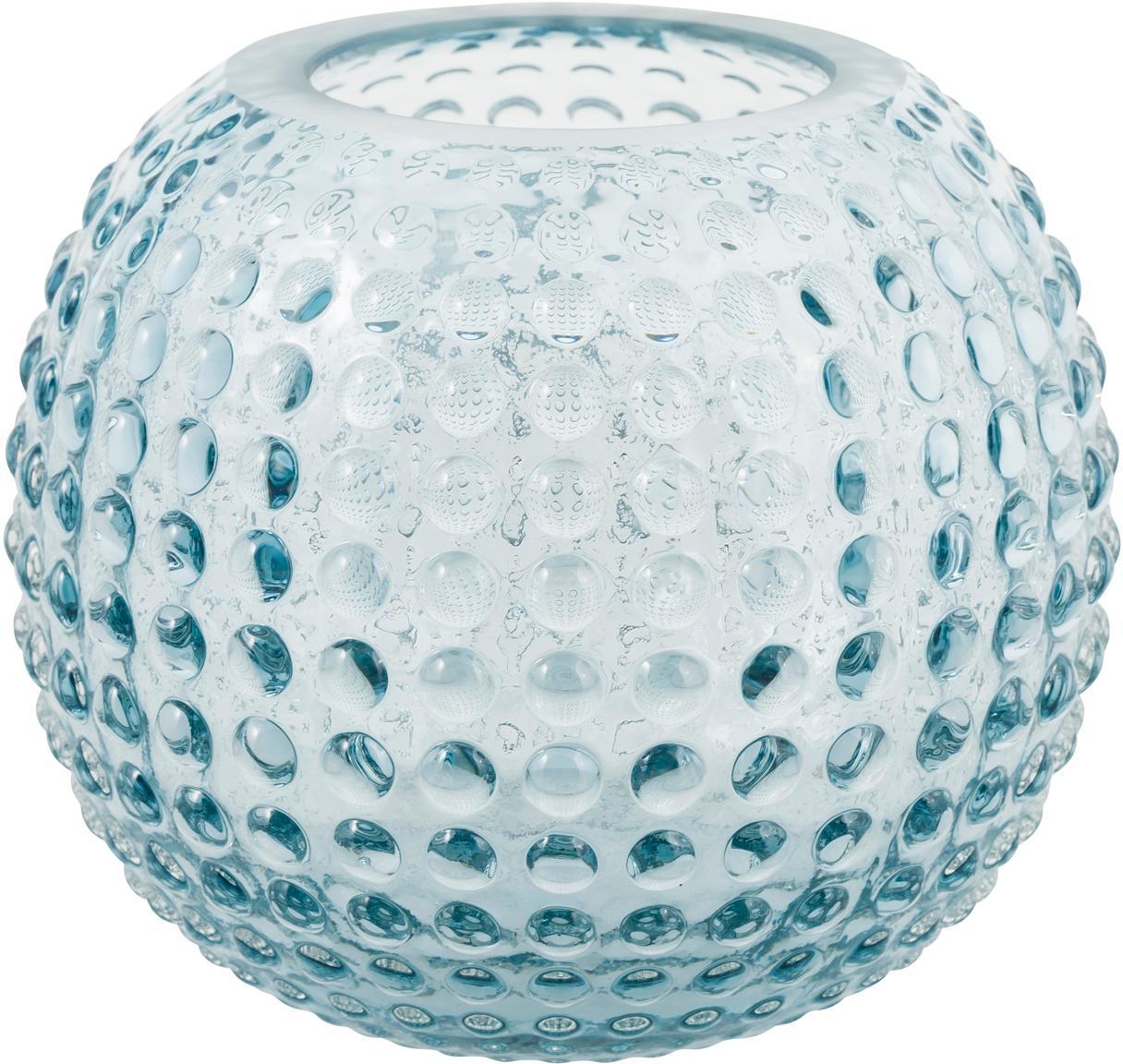 Teelichthalter Flora , Glas, Hellblau, transparent, Ø 11 x H 10 cm