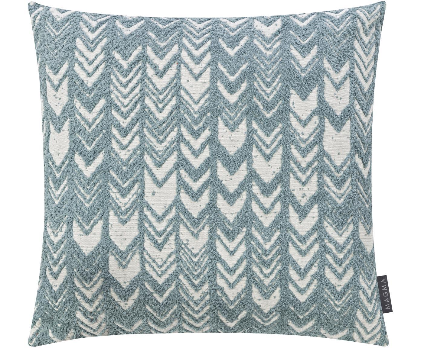Kissenhülle Tilas mit Hoch-Tief-Muster & Samt-Rückseite, Vorderseite: 87%Polyester, 13%Baumwo, Rückseite: Polyestersamt, Mintblau, Creme, 50 x 50 cm