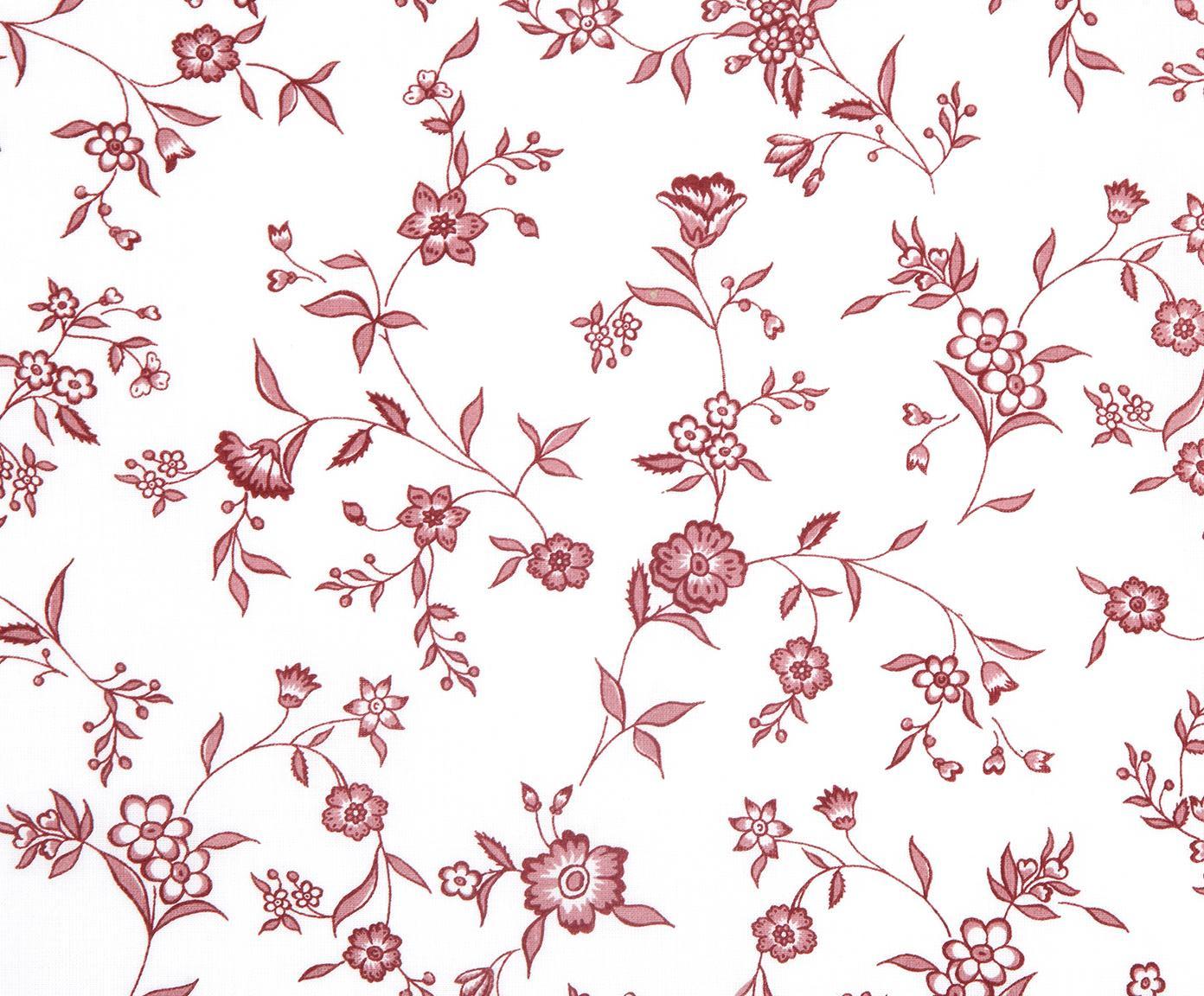 Renforcé-Bettwäsche Anja mit Blumenmuster, Webart: Renforcé, Weiss, Rot, 240 x 220 cm