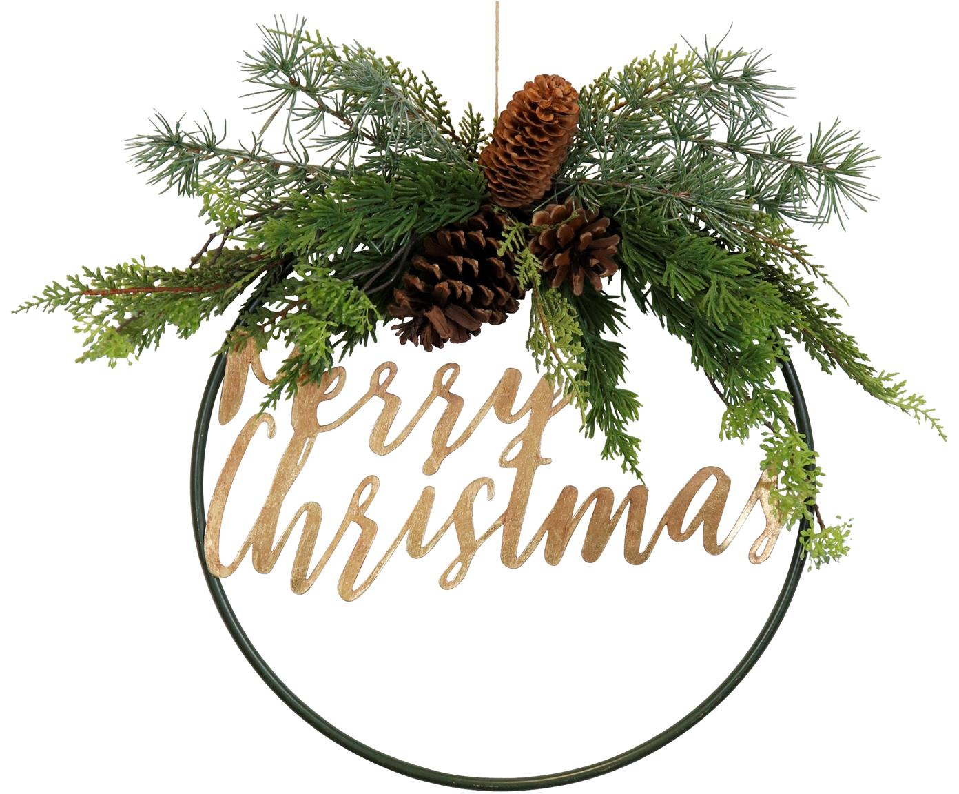 Adorno navideño Merry Christmas, Metal, plástico, piñas, Verde, marrón, Ø 36 cm