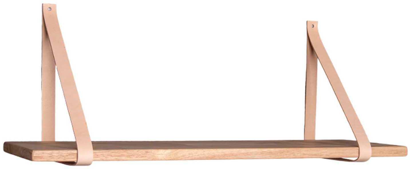Mensola Forno, Ripiano: caucciù, Cinturino: pelle, Caucciù, beige, Larg. 80 x Alt. 2 cm