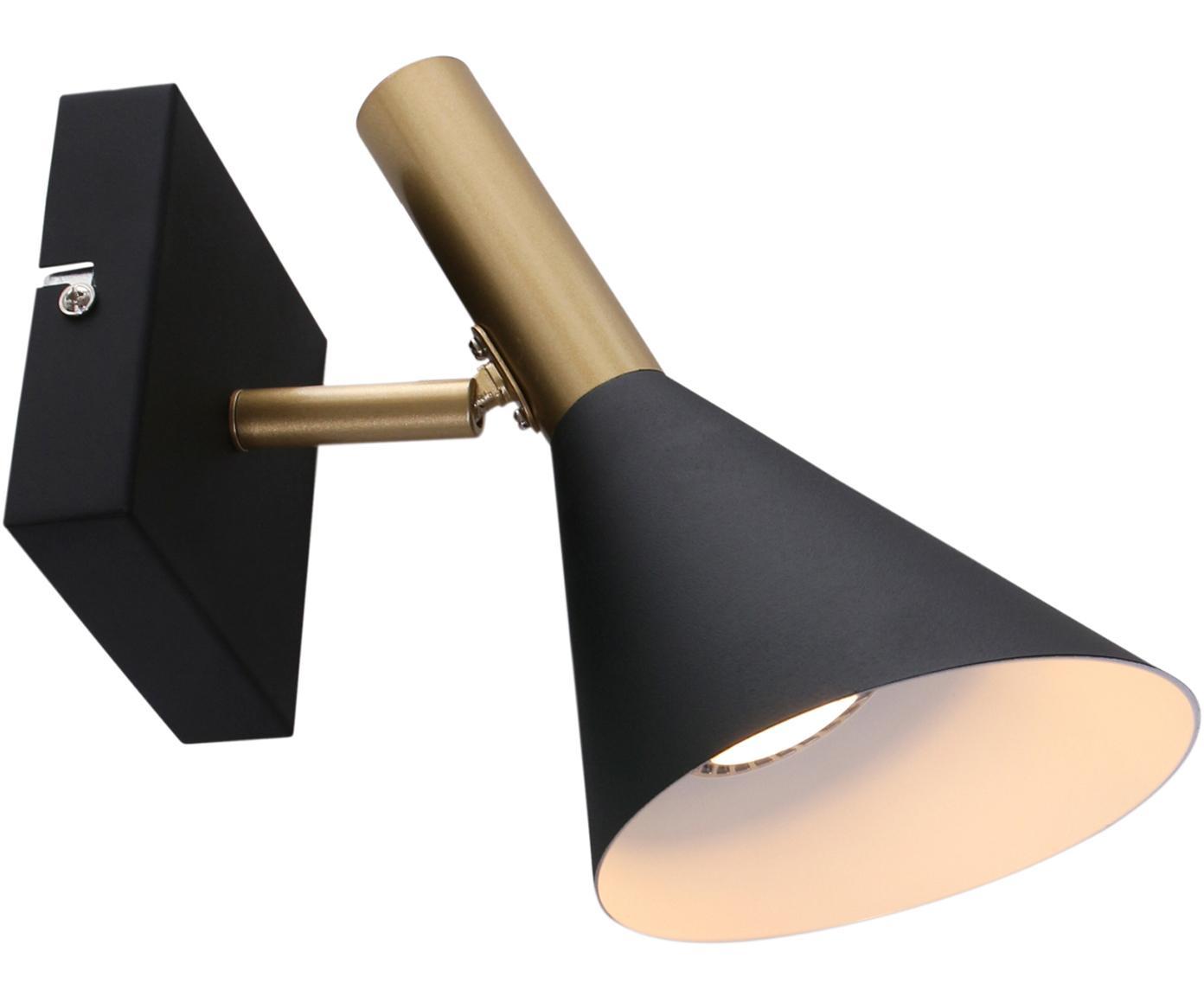 Wandlamp Nol, Gelakt messing, Zwart, mat messingkleurig, 21 x 16 cm