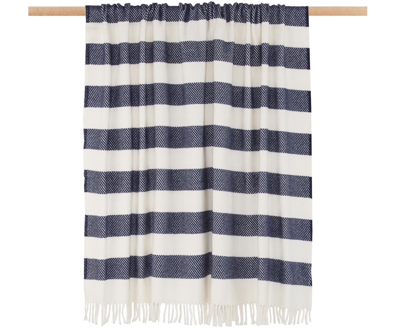 Plaid Candy, 50% Baumwolle, 50% Acryl, Marineblau, Gebrochenes Weiß, 140 x 180 cm
