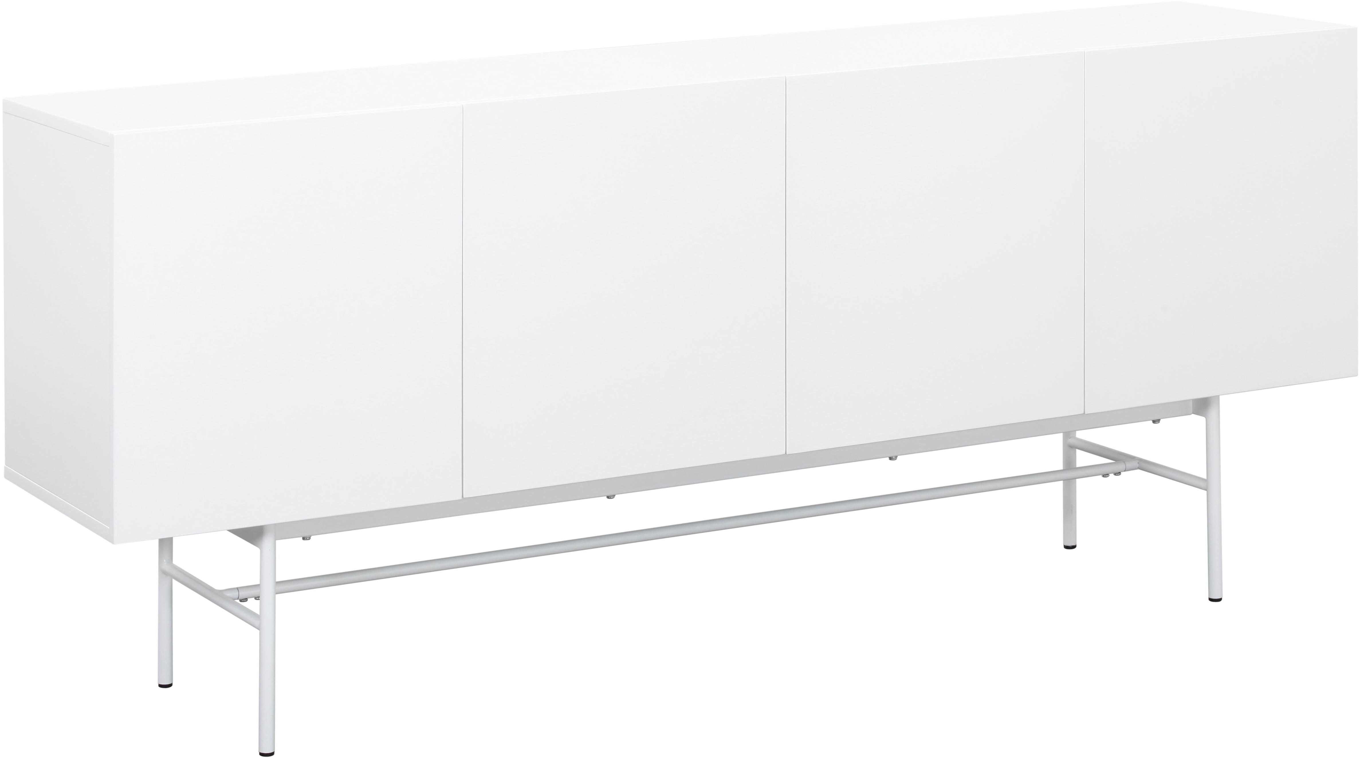 Modernes Sideboard Anders, Korpus: Mitteldichte Holzfaserpla, Füße: Metall, pulverbeschichtet, Korpus: WeißFüße: Weiß, matt, 180 x 80 cm