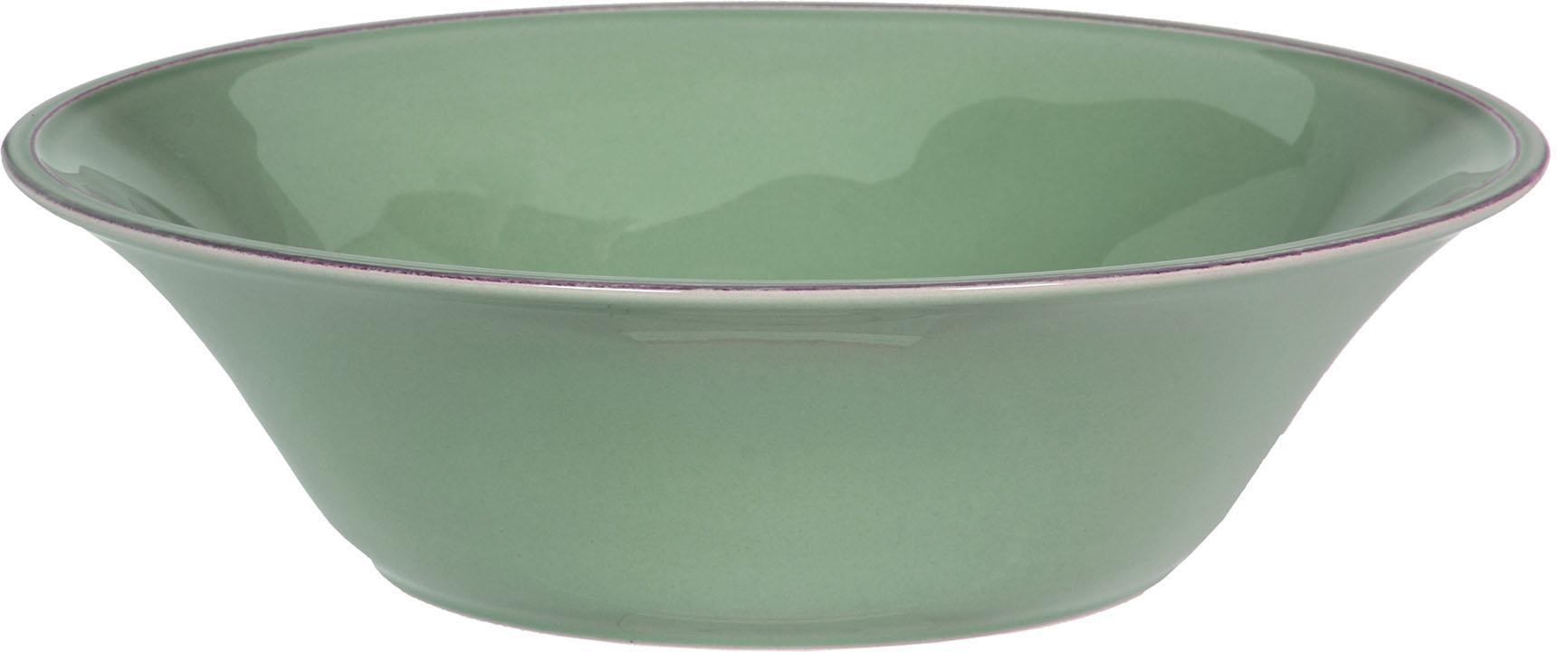 Ensaladera Constance, estilo rústico, Cerámica, Verde salvia, Ø 30 x Al 9 cm