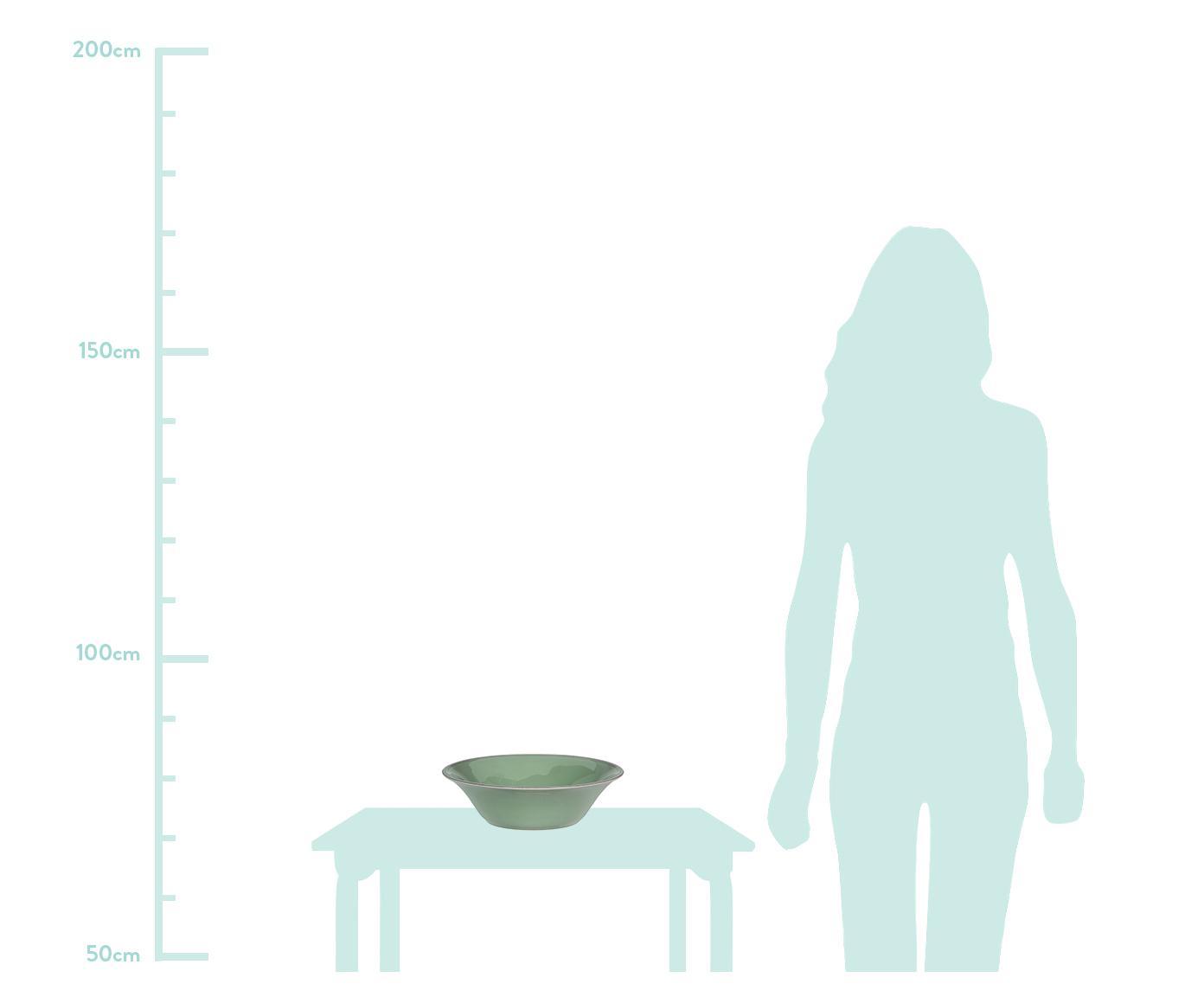Salatschüssel Constance im Landhaus Style, Steingut, Salbeigrün, Ø 30 x H 9 cm