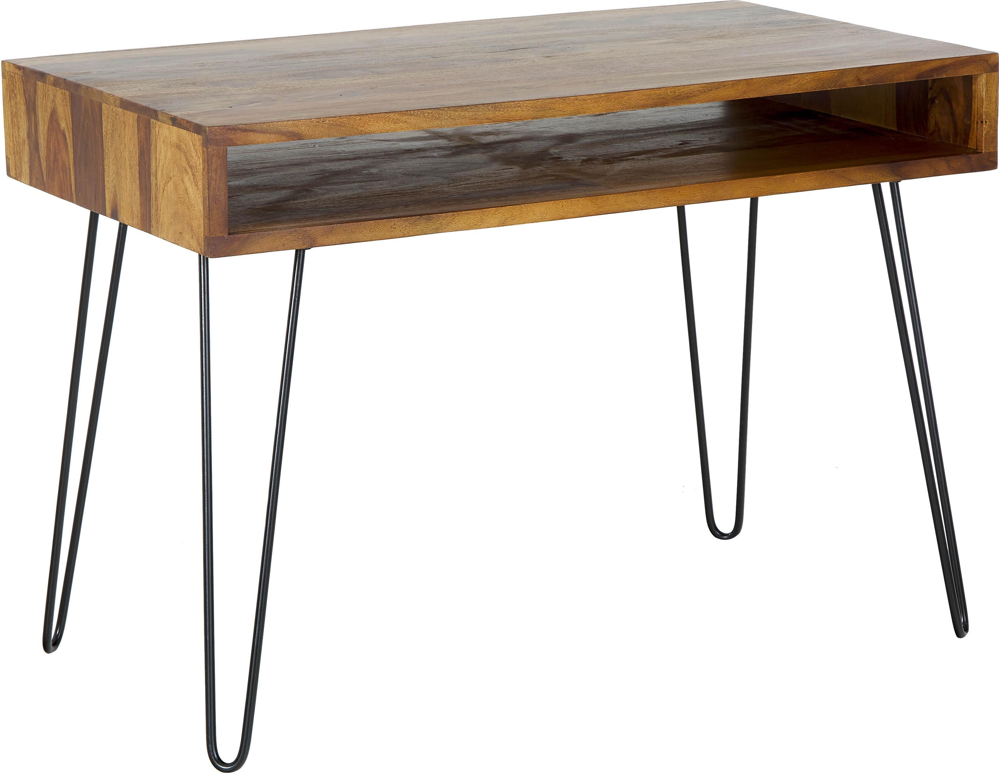 Escritorio de madera y metal Repa, Estructura: madera de sheesham maciza, Patas: metal pintado, Madera de sheesham, negro, An 110 x Al 76 cm
