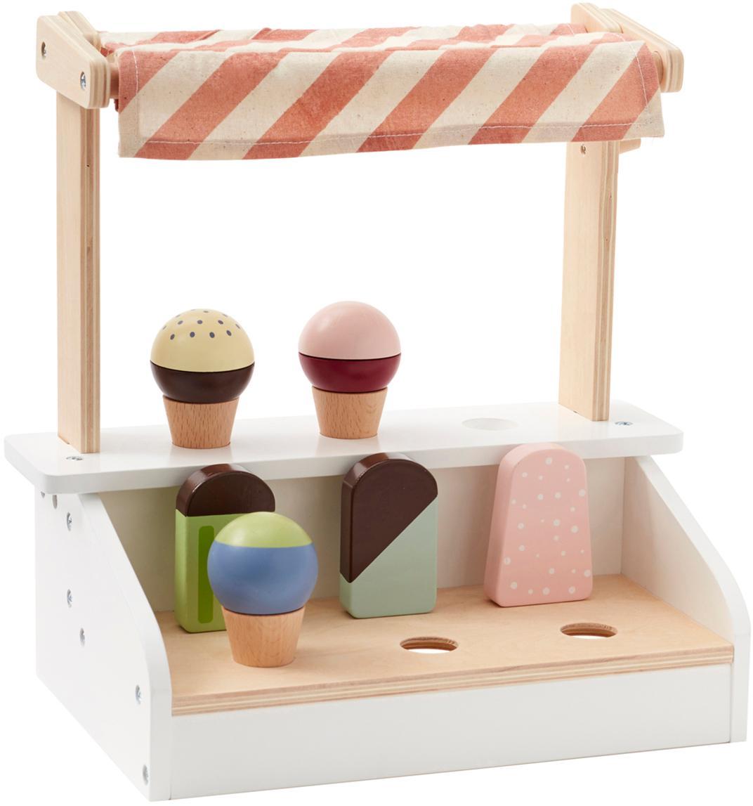 Spielzeug-Set Eisdiele, Buchenholz, Schimaholz, Sperrholz, beschichtet, Baumwolle, Mehrfarbig, 30 x 30 cm