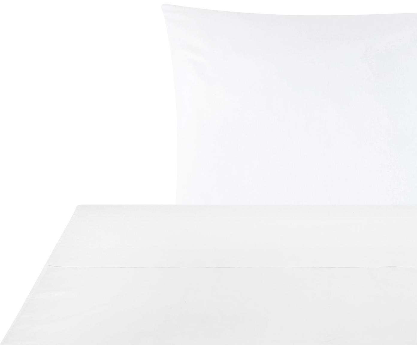 Set lenzuola in raso di cotone Comfort 2 pz, Tessuto: raso Densità del filo 250, Bianco, 150 x 300 cm