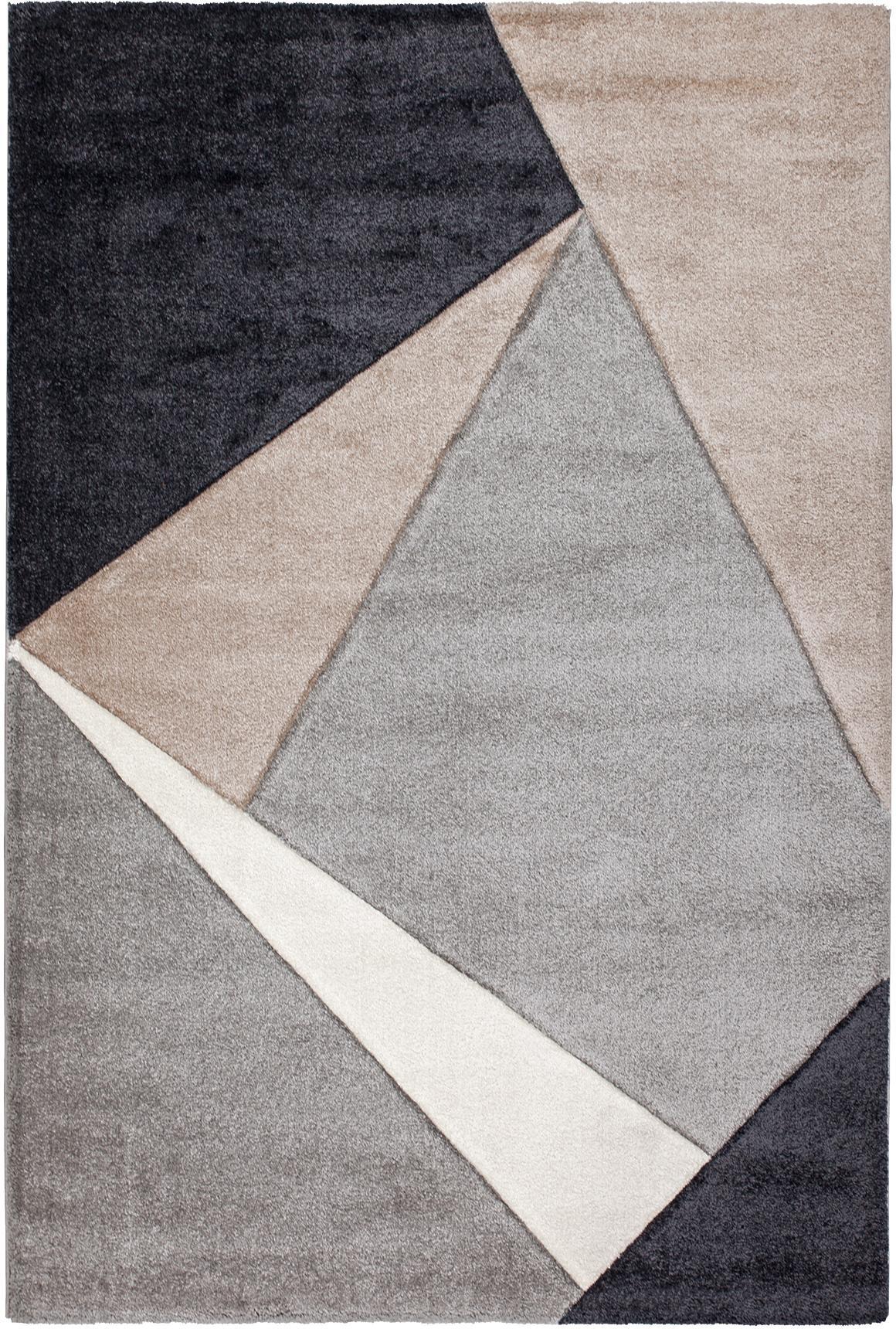 Teppich My Broadway mit geometrischem Muster in Beige-Grau, Flor: 100% Polypropylen, Taupe, Beige, Anthrazit, Grau, B 160 x L 230 cm (Größe M)