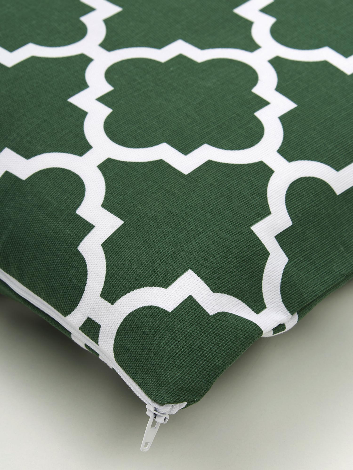 Kissenhülle Lana mit grafischem Muster, 100% Baumwolle, Dunkelgrün, Weiß, 45 x 45 cm
