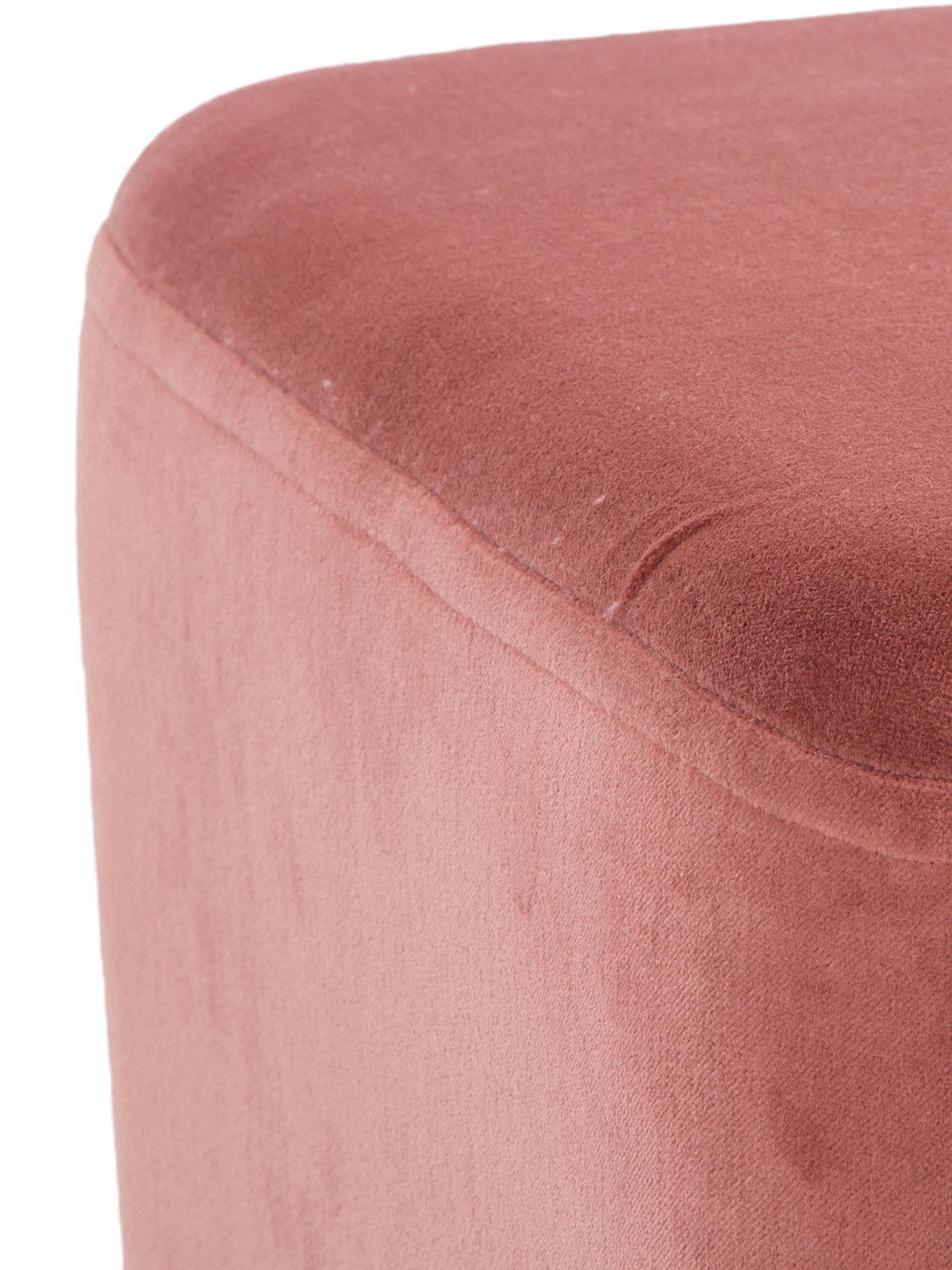 XL Samt-Hocker Harper, Bezug: Baumwollsamt, Fuß: Metall, pulverbeschichtet, Koralle, Goldfarben, 64 x 44 cm