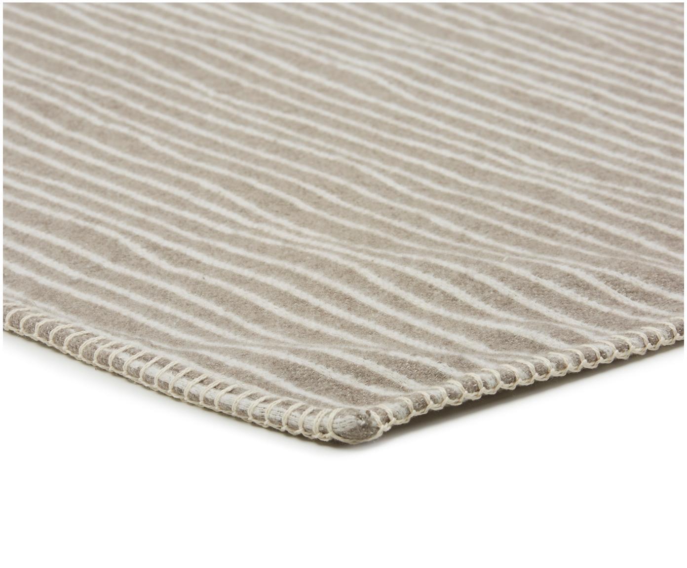 Plaid Nova Stripes, 85%Baumwolle, 8%Viskose, 7%Polyacryl, Rauchgrau, Weiß, 145 x 220 cm