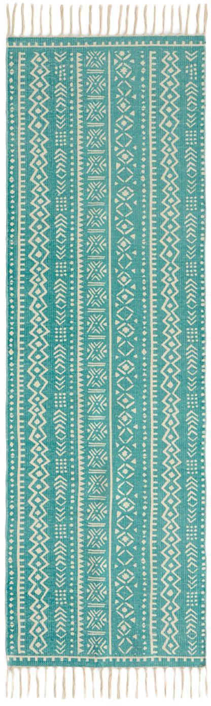 Läufer Afra mit grafischem Muster in Türkis-Weiss, 100% Baumwolle, Türkis, Gebrochenes Weiss, 60 x 190 cm