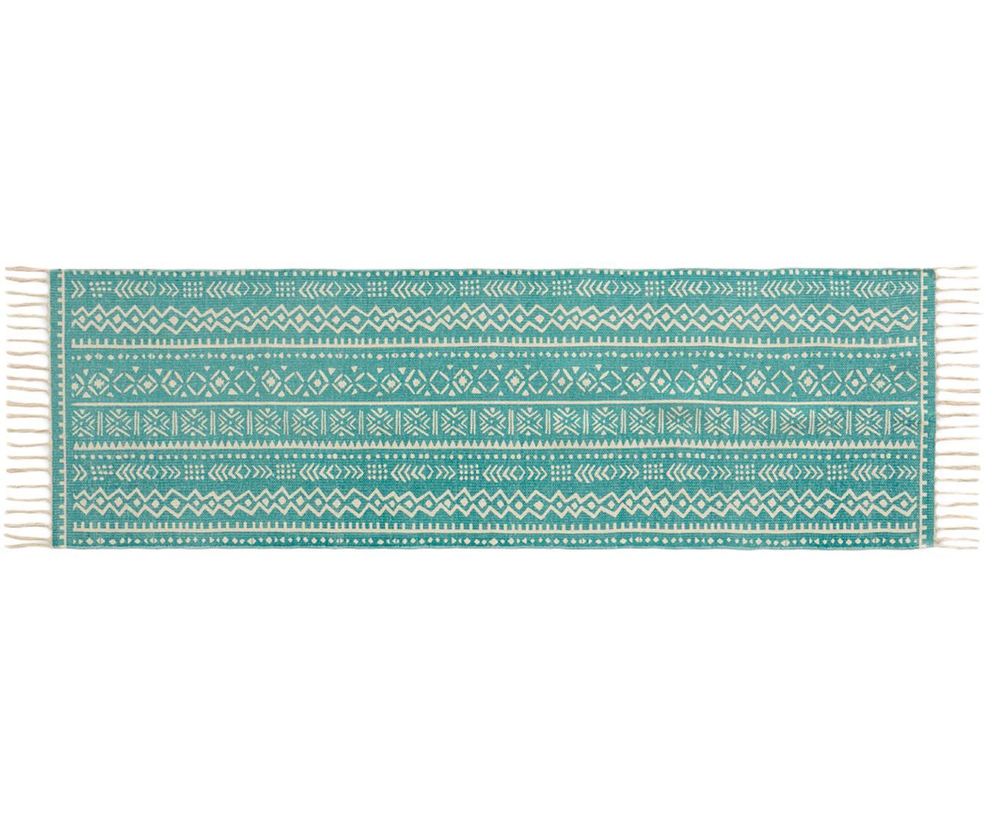 Läufer Afra mit grafischem Muster in Türkis-Weiß, 100% Baumwolle, Türkis, Gebrochenes Weiß, 60 x 190 cm