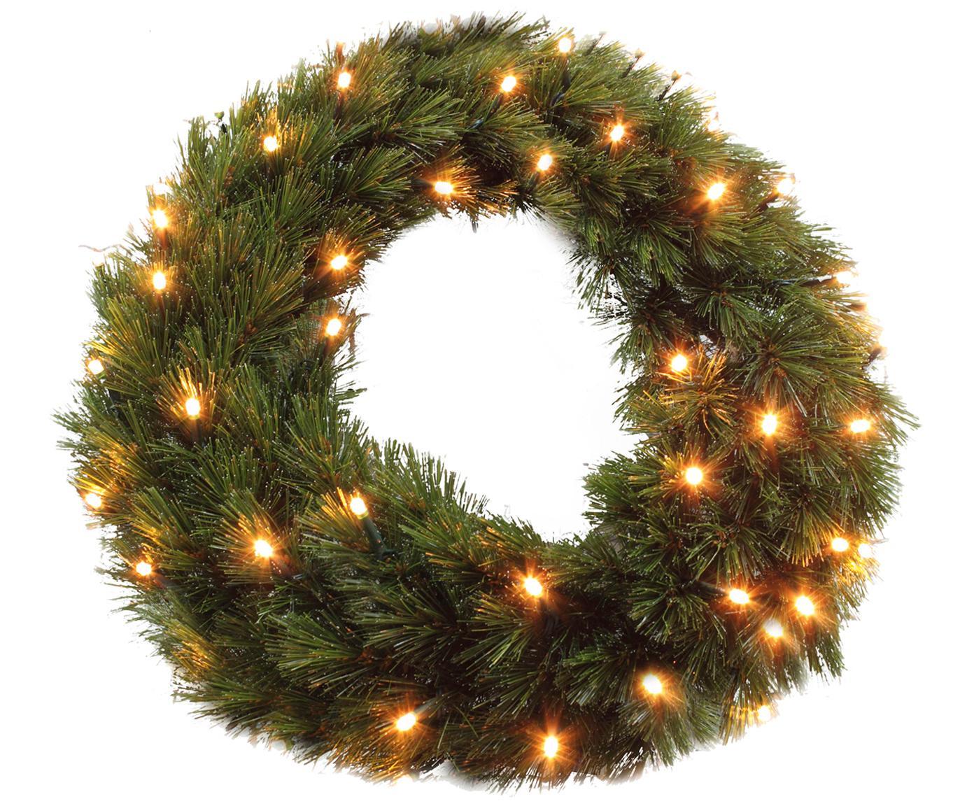 Ghirlanda natalizia con luci LED Forest, Materiale sintetico (PVC), Verde, Ø 45 x Alt. 10 cm