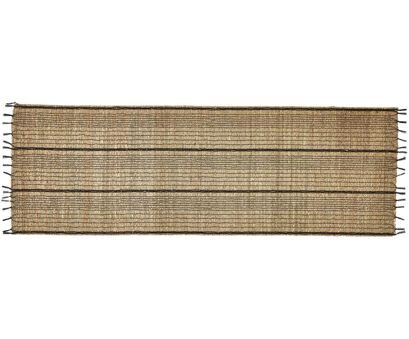 Tischläufer Nature, Seegras, Beige, Schwarz, 50 x 150 cm