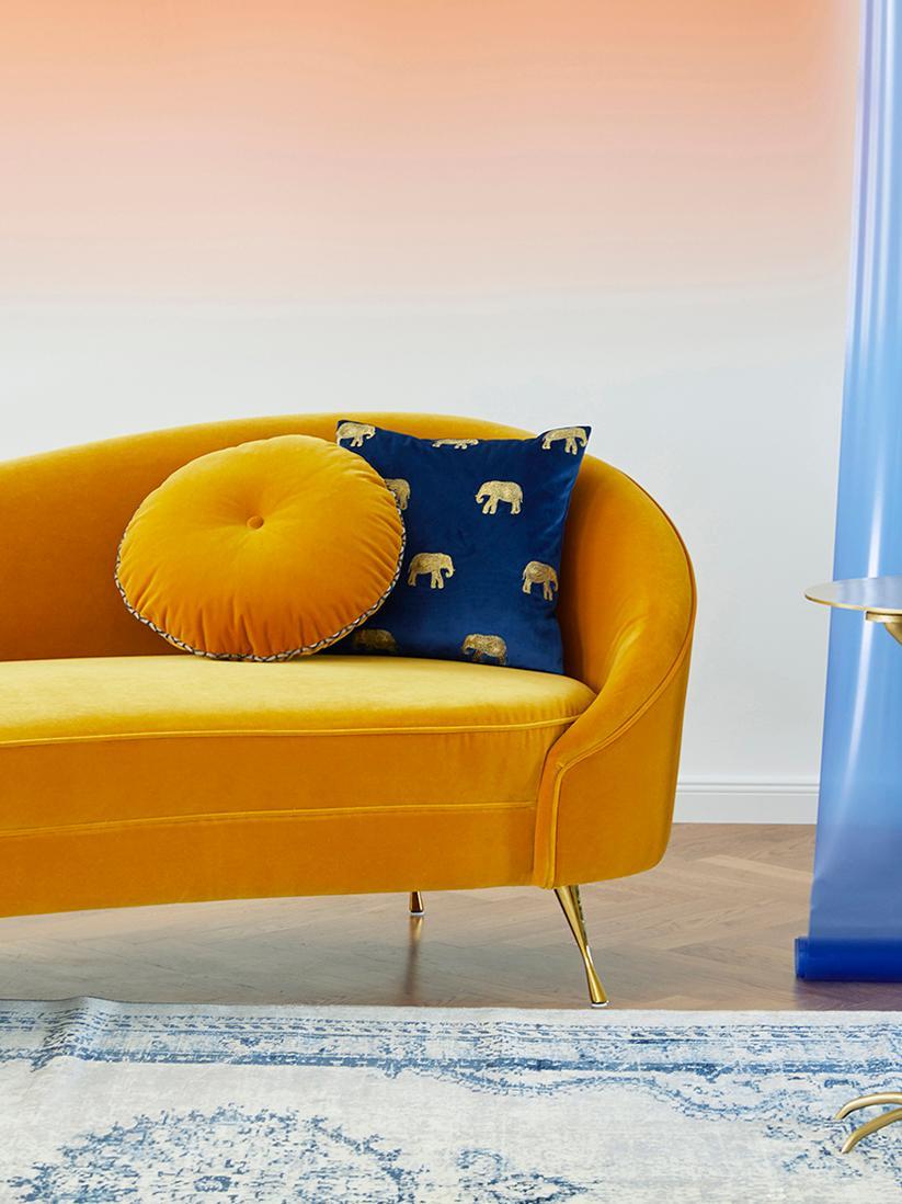 Geborduurde fluwelen kussenhoes Elefco in blauw/goudkleur, Polyester fluweel, Donkerblauw, goudkleurig, 40 x 40 cm