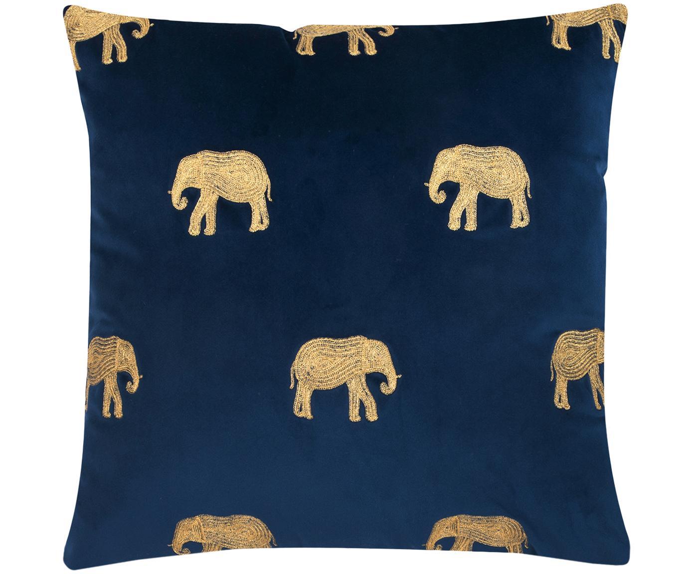 Haftowana poszewka na poduszkę z aksamitu Elefco, Aksamit poliestrowy, Ciemny niebieski, odcienie złotego, S 40 x D 40 cm