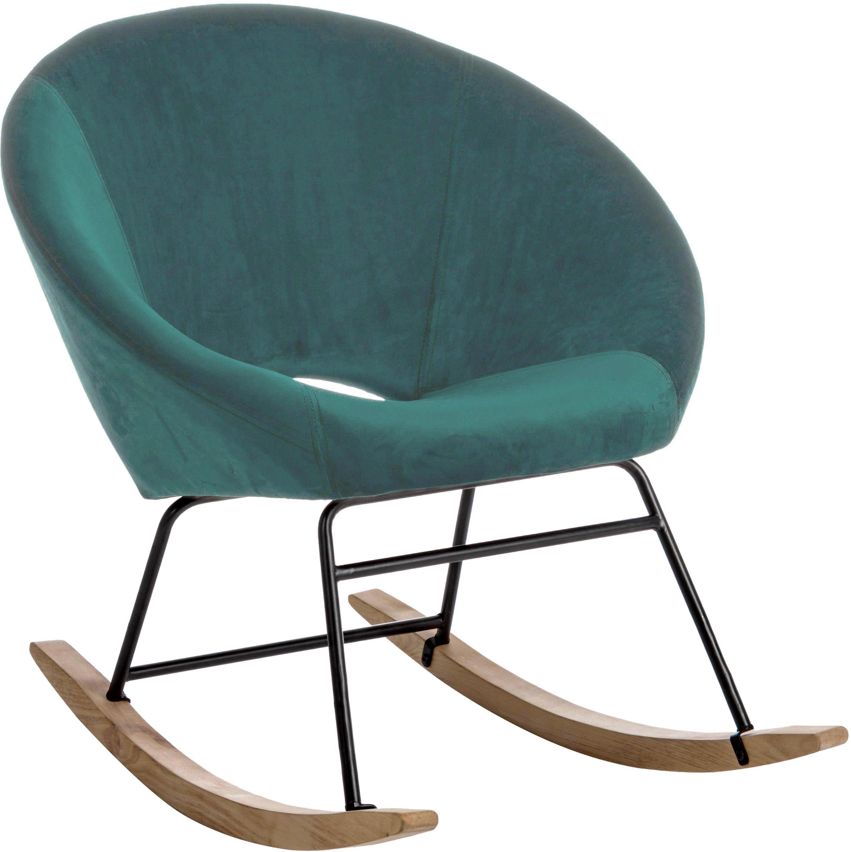 Sedia a dondolo in velluto Annika, Rivestimento: velluto di poliestere 70., Struttura: metallo verniciato a polv, Velluto blu pavone, Larg. 74 x Prof. 77 cm