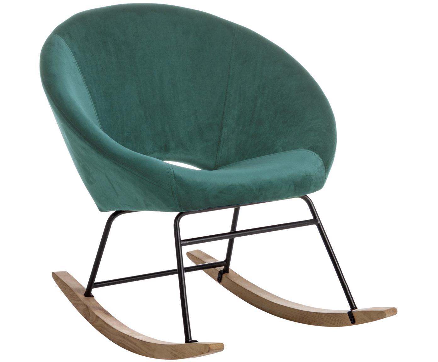 Fluwelen schommelstoel Annika, Bekleding: polyester fluweel, Frame: gepoedercoat metaal, Frame: multiplex, metaal, Pauwblauw, B 74 x D 77 cm