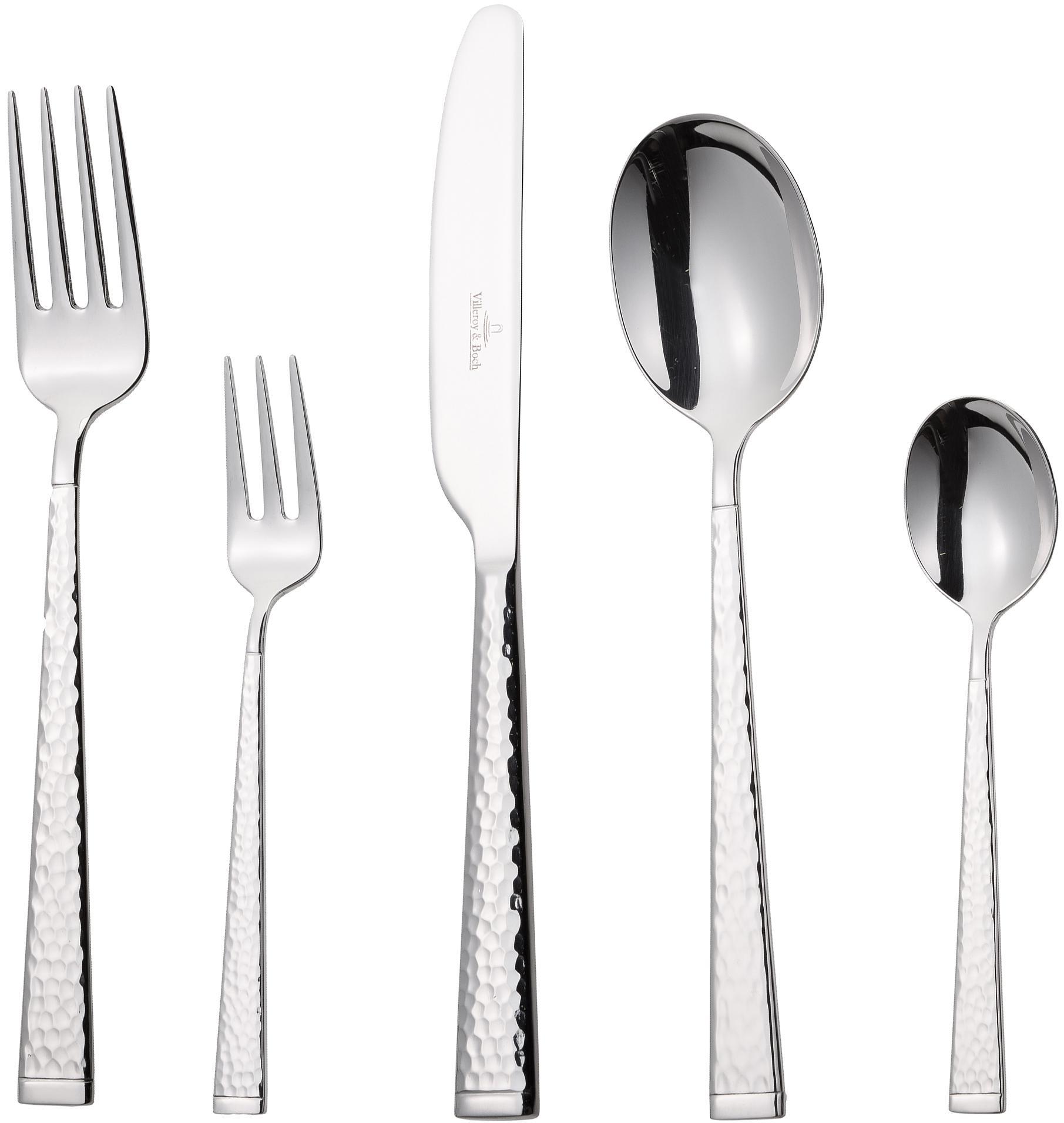 Silbernes Besteck-Set Blacksmith aus 18/10 Edelstahl, 6 Personen (30-tlg.), Edelstahl, Edelstahl, verschiedene Größen