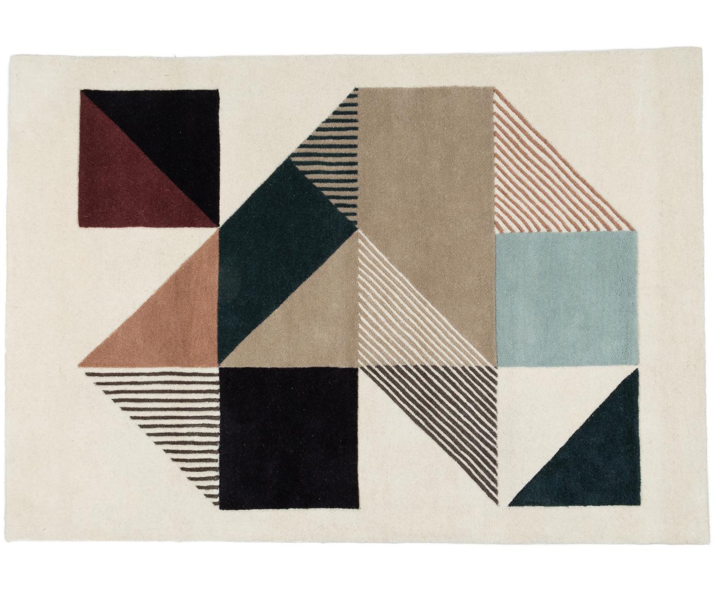 Handgetuft design vloerkleed Mikill van wol, Bovenzijde: wol, Onderzijde: katoen, Beige- en blauwtinten, rood, roze, zwart, 140 x 200 cm