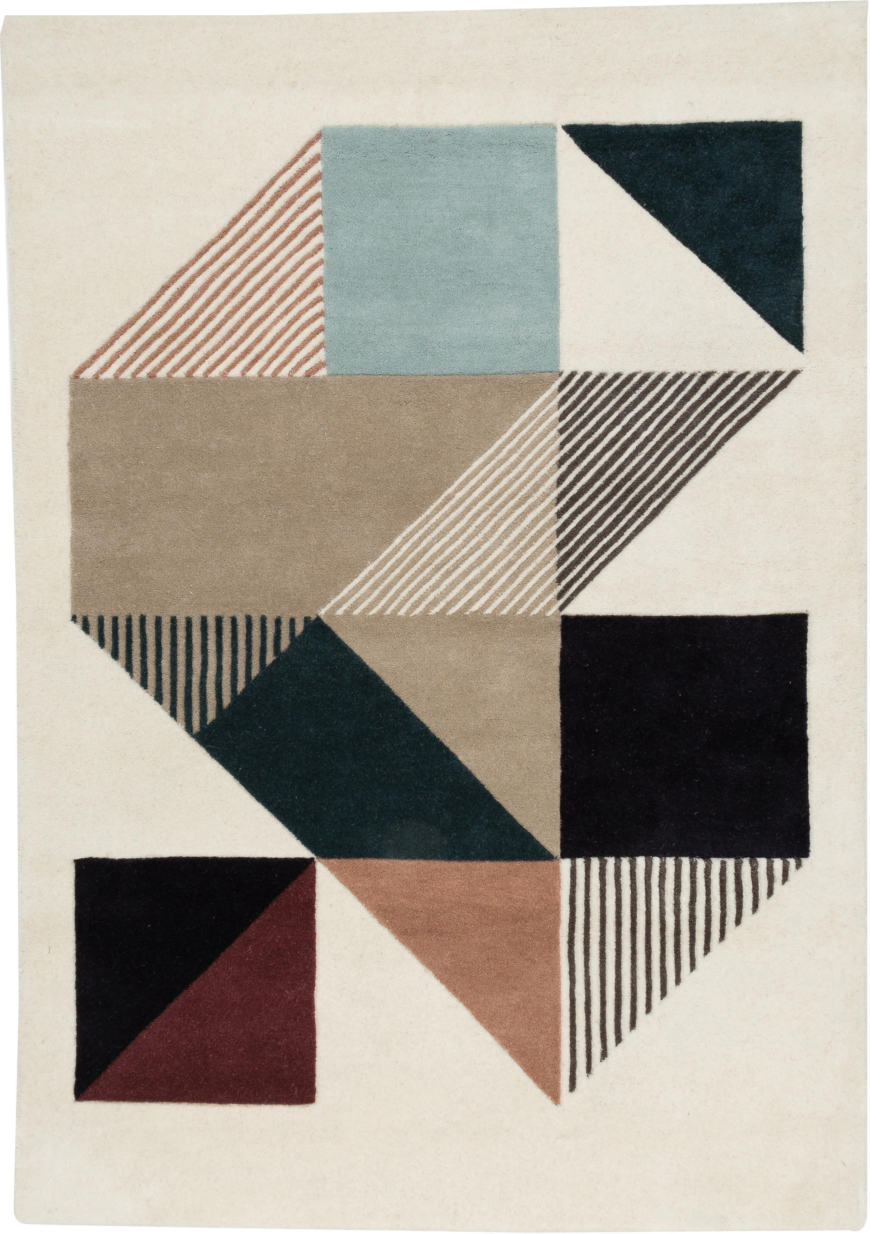 Alfombra artesanal de lana de diseño Mikill, Parte superior: 100%lana, Reverso: algodón, Tonos de beige y azul, rojo, rosa, negro, An 140 x L 200 cm (Tamaño S)