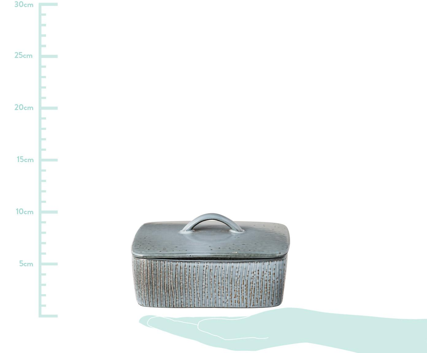 Ręcznie wykonana maselniczka z kamionki Nordic Sea, Kamionka, Szary i niebieski, S 15 x G 12 cm